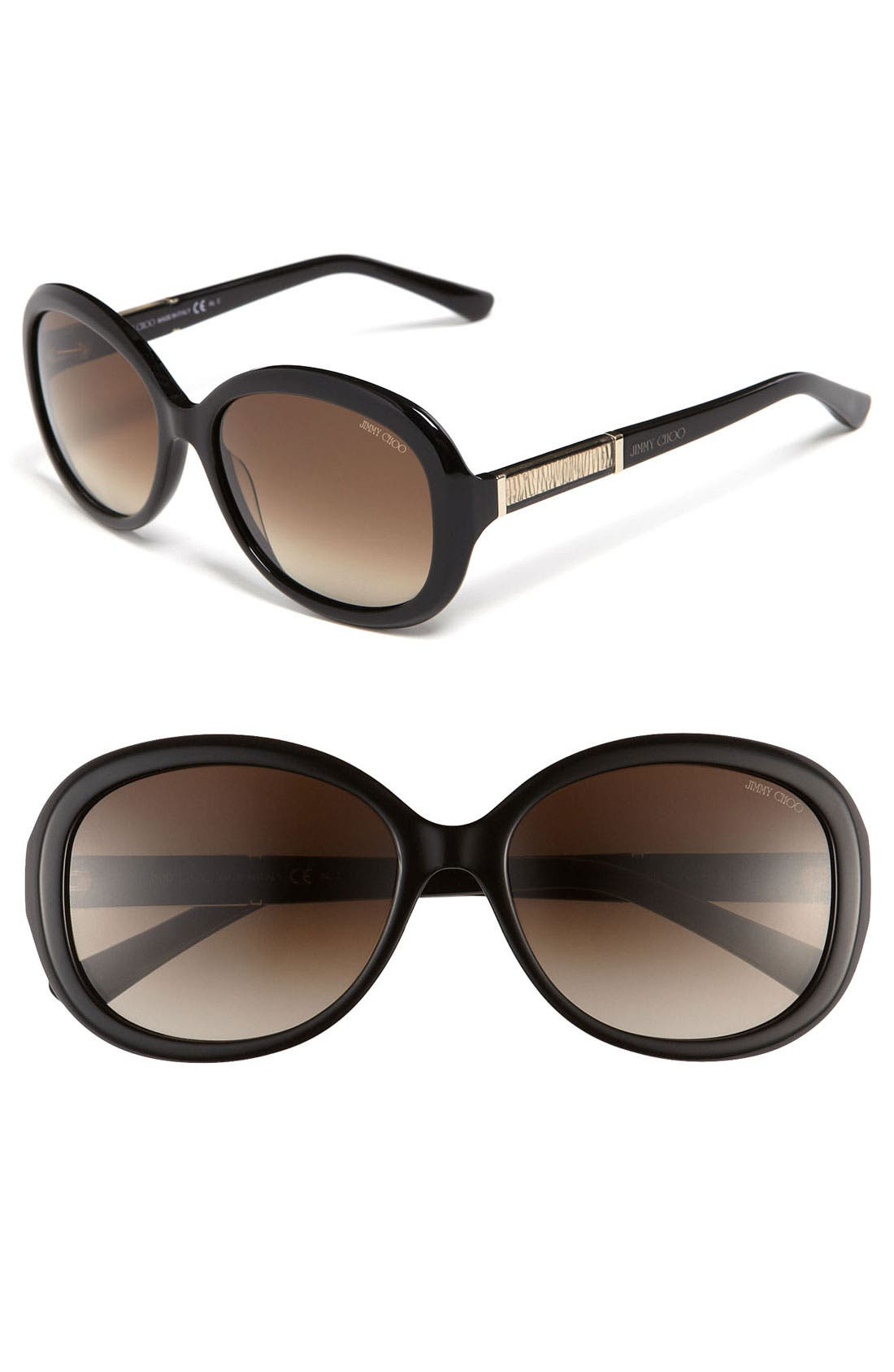 'Monique' 56mm Classic Sunglasses,                         Main,                         color, 001