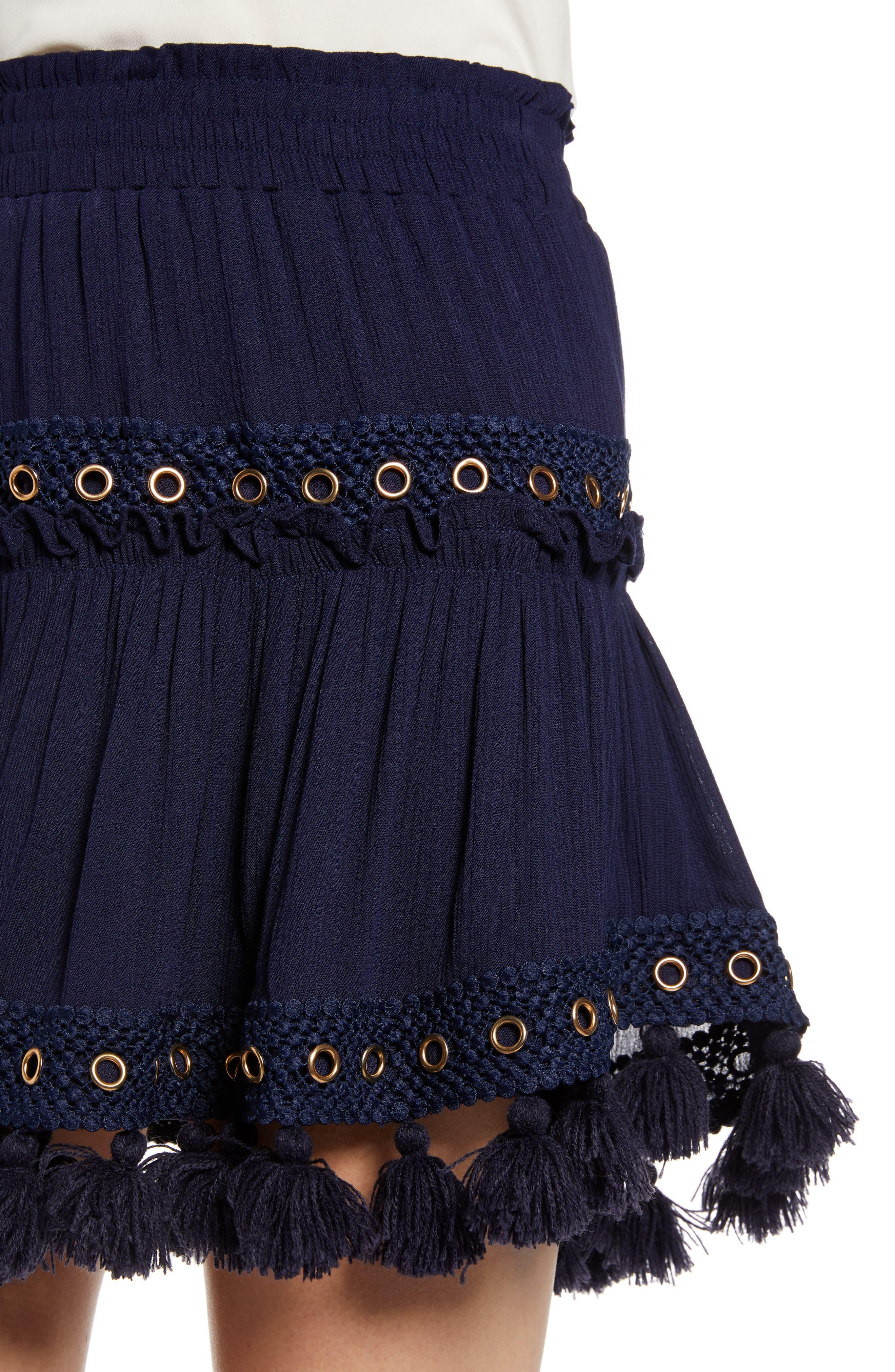 Marcella Fringe Trim Skirt,                             Alternate thumbnail 4, color,                             AZURE