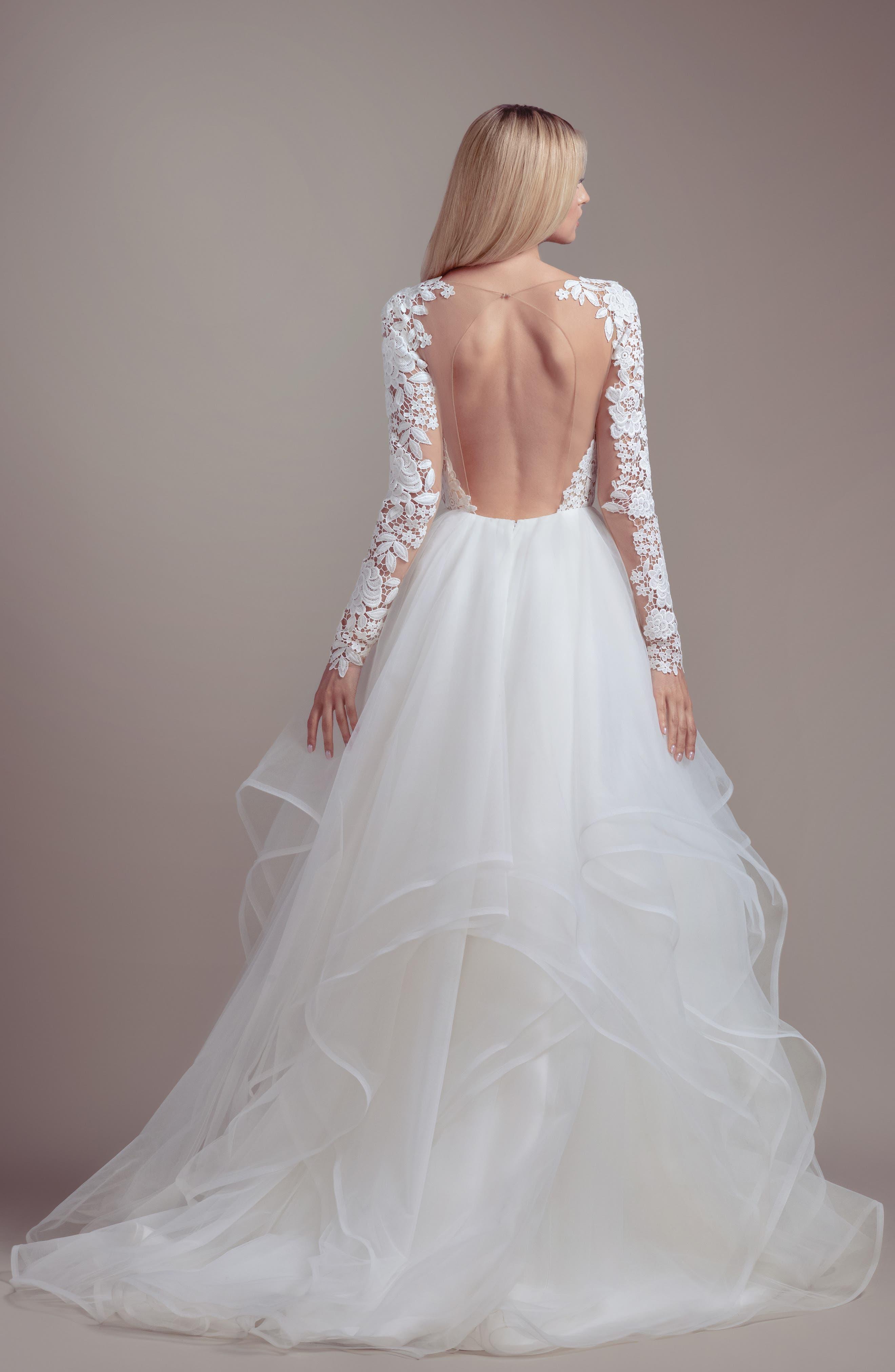 Praise Long Sleeve Lace & Tulle Wedding Dress,                             Alternate thumbnail 2, color,                             IVORY