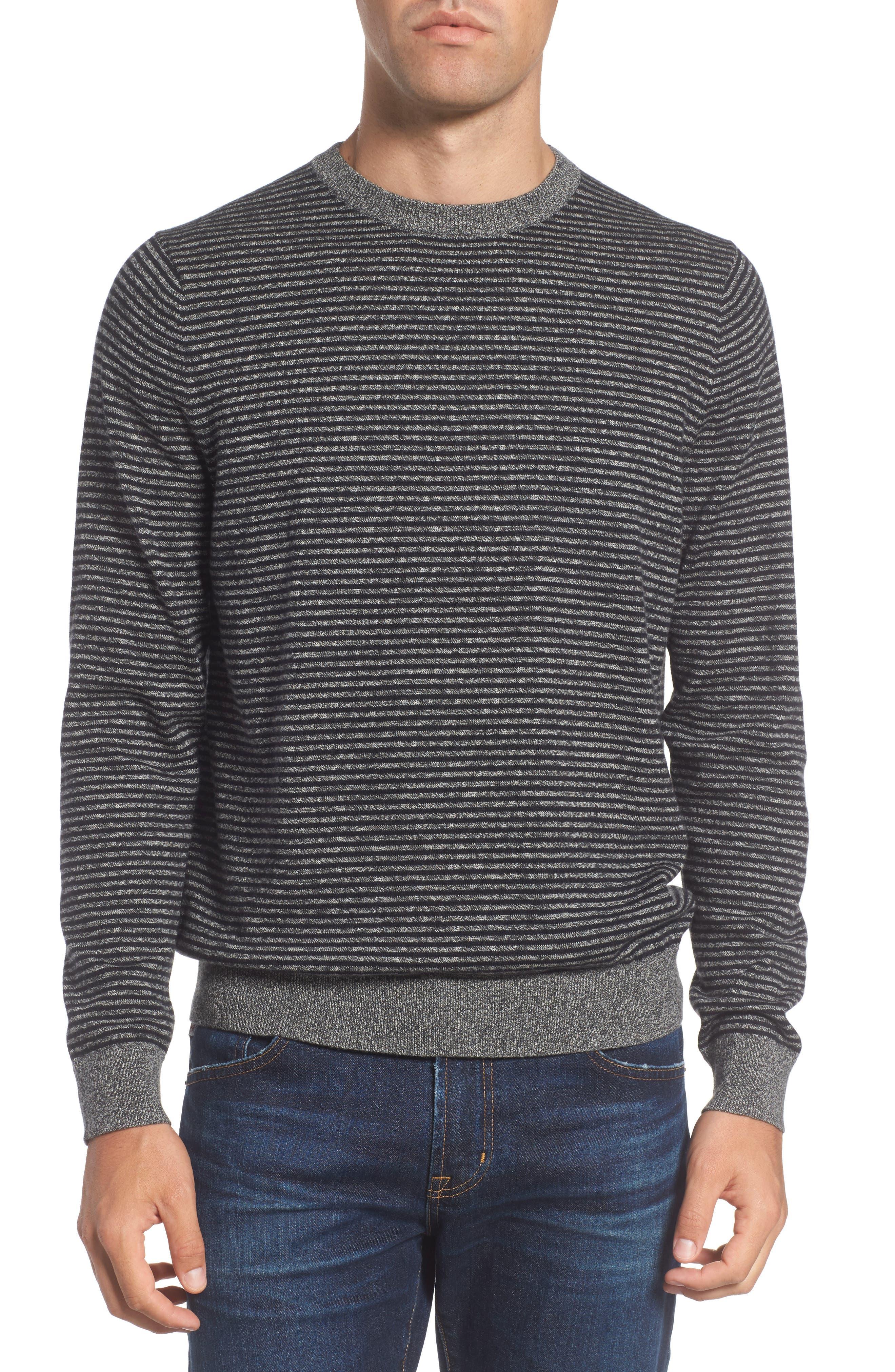 Stripe Cotton & Cashmere Crewneck Sweater,                             Main thumbnail 1, color,                             001