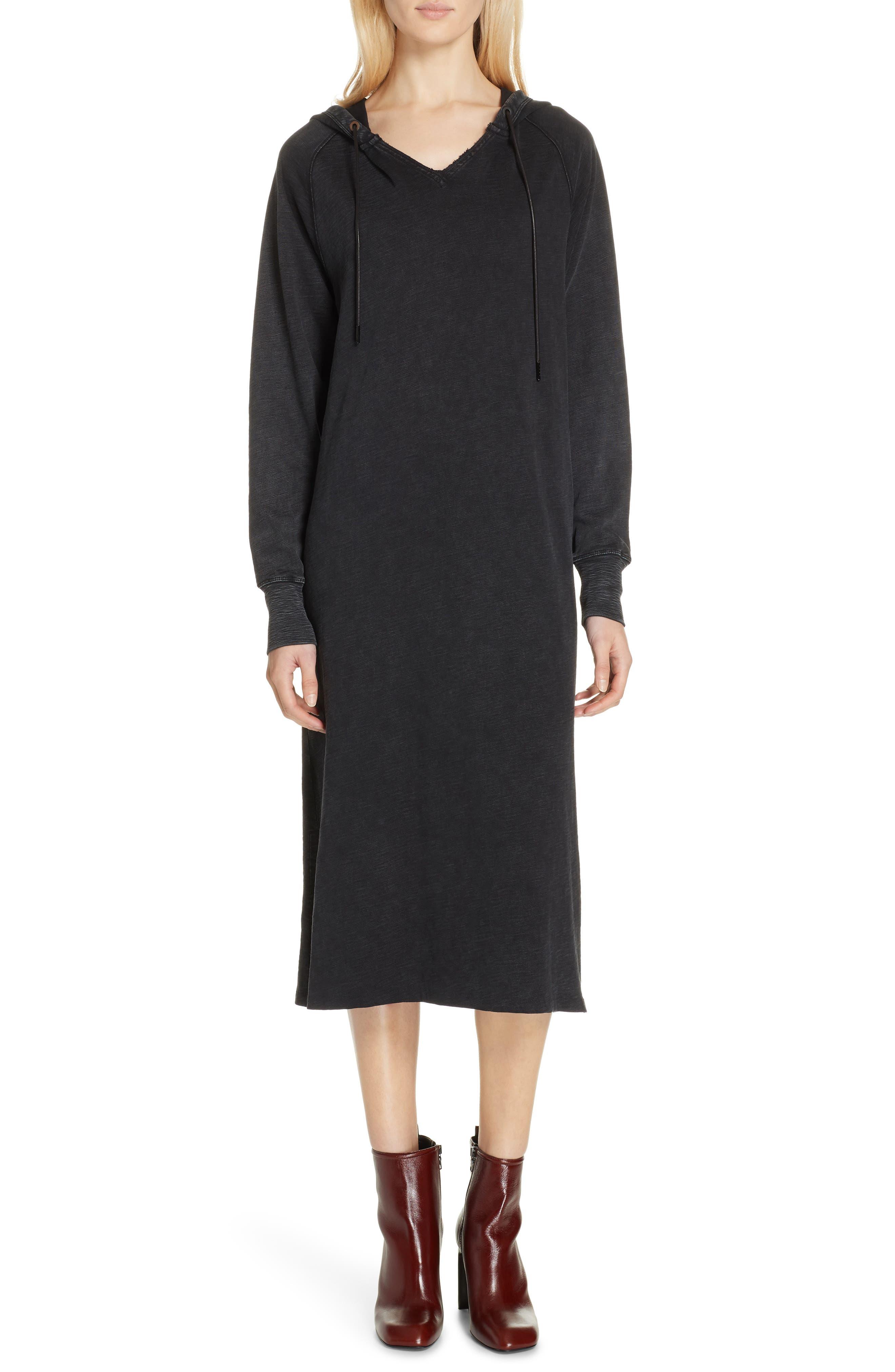 Rag & Bone Acid Wash Hooded Midi Dress, Black