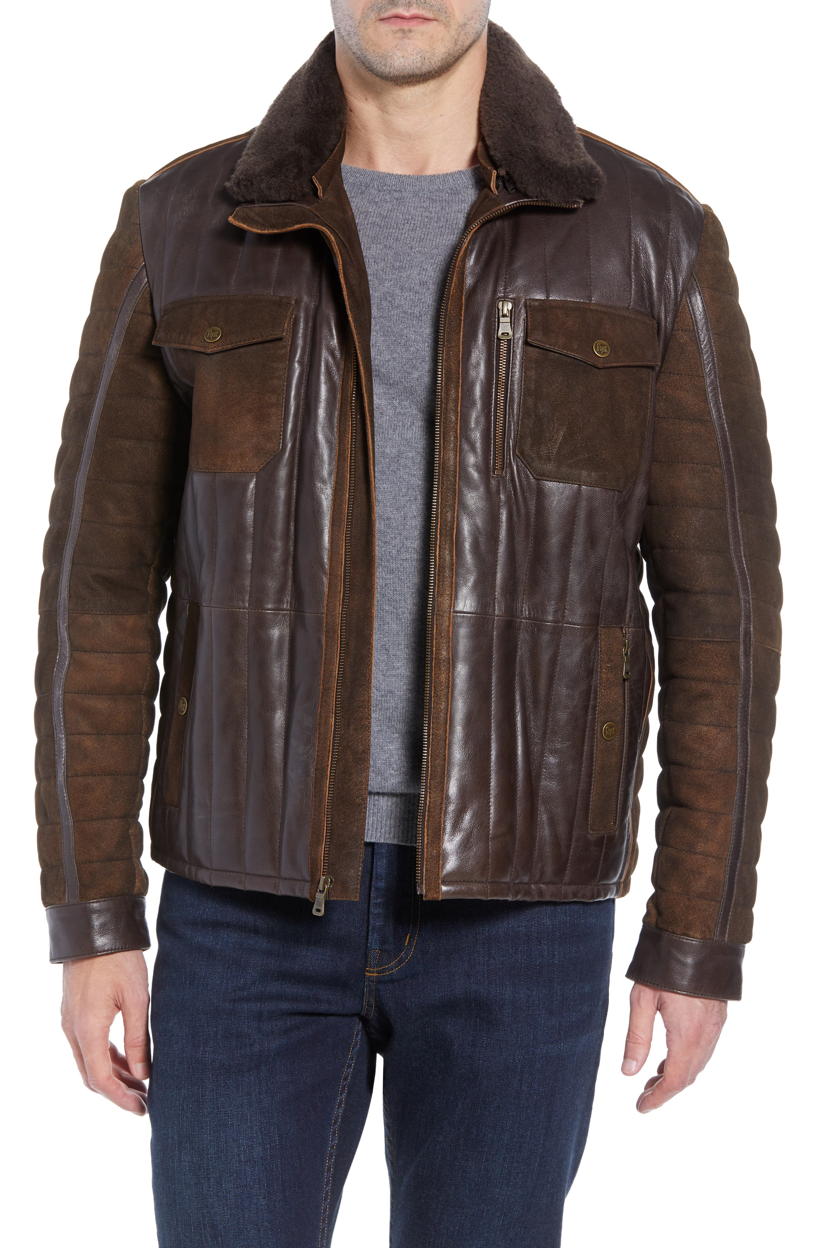 Genuine Shearling Trim Leather Bomber Jacket,                         Main,                         color, 201