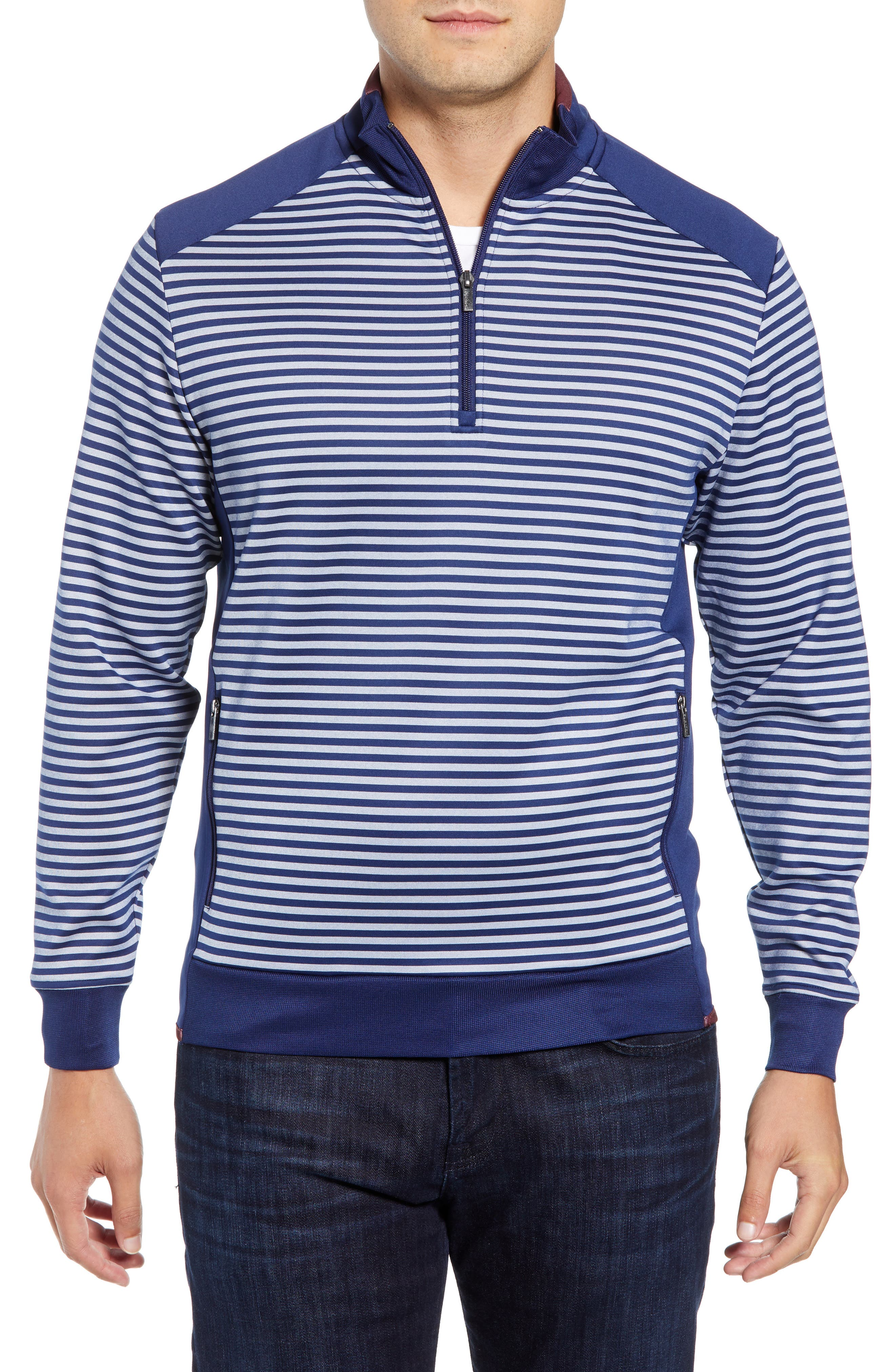 Regular Fit Stripe Quarter Zip Pullover,                             Main thumbnail 1, color,                             NAVY