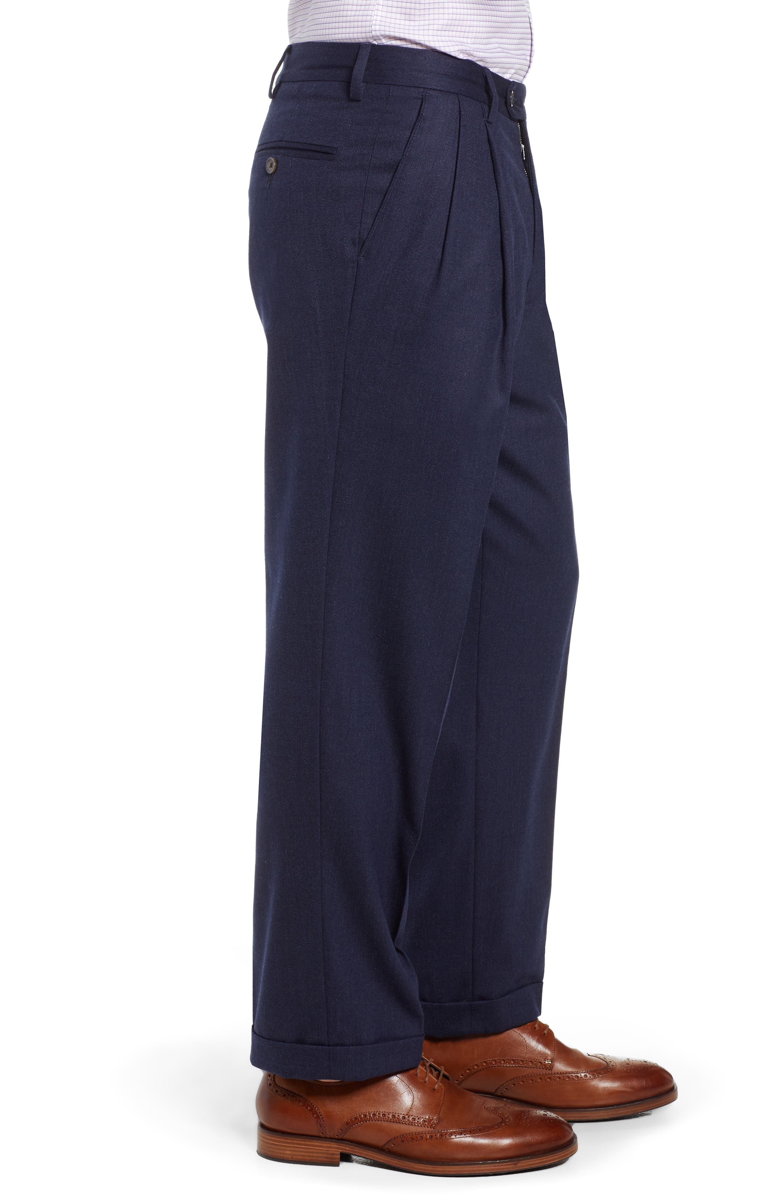 Manufacturing Pleated Stretch Solid Wool & Cotton Trousers,                             Alternate thumbnail 3, color,                             BLUE