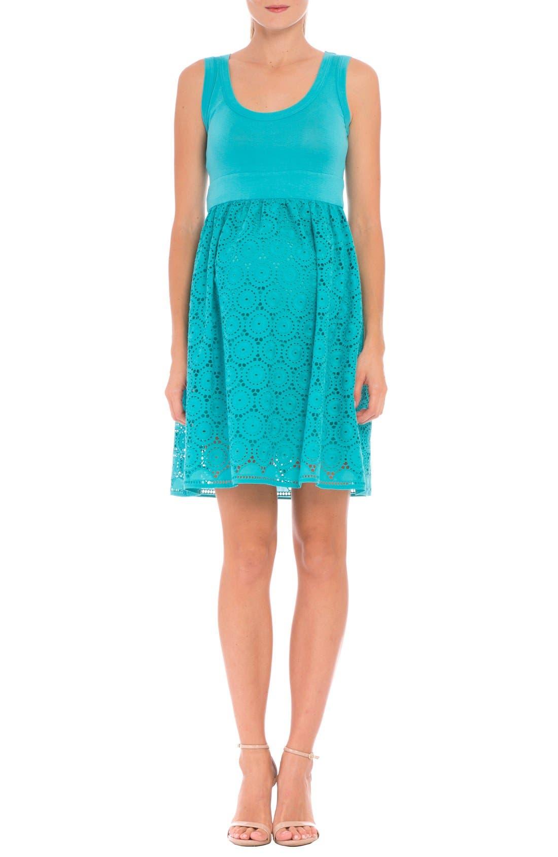 Crochet Maternity Dress,                         Main,                         color, AQUA