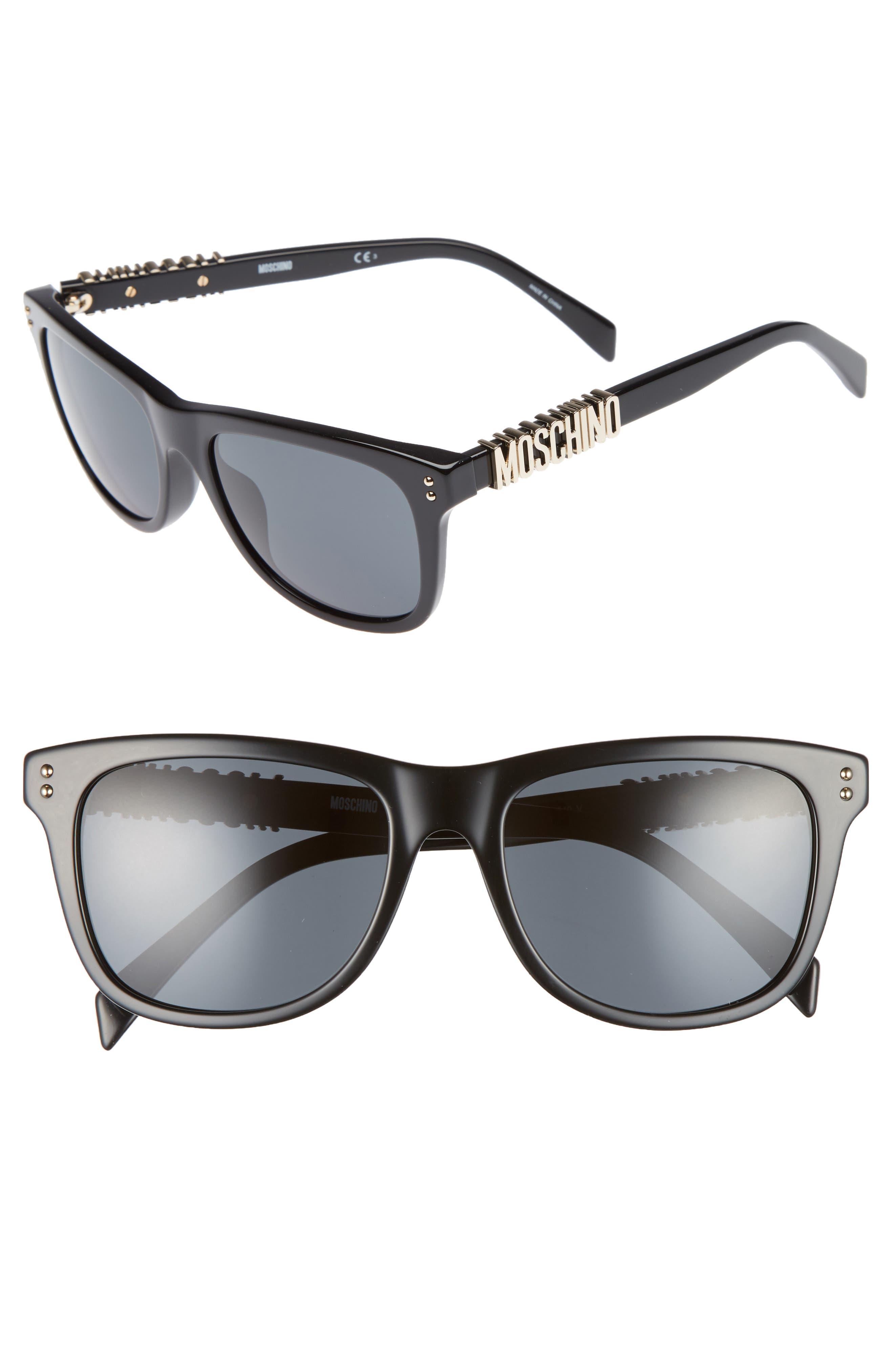 Basic 53mm Polarized Sunglasses,                             Main thumbnail 1, color,                             BLACK