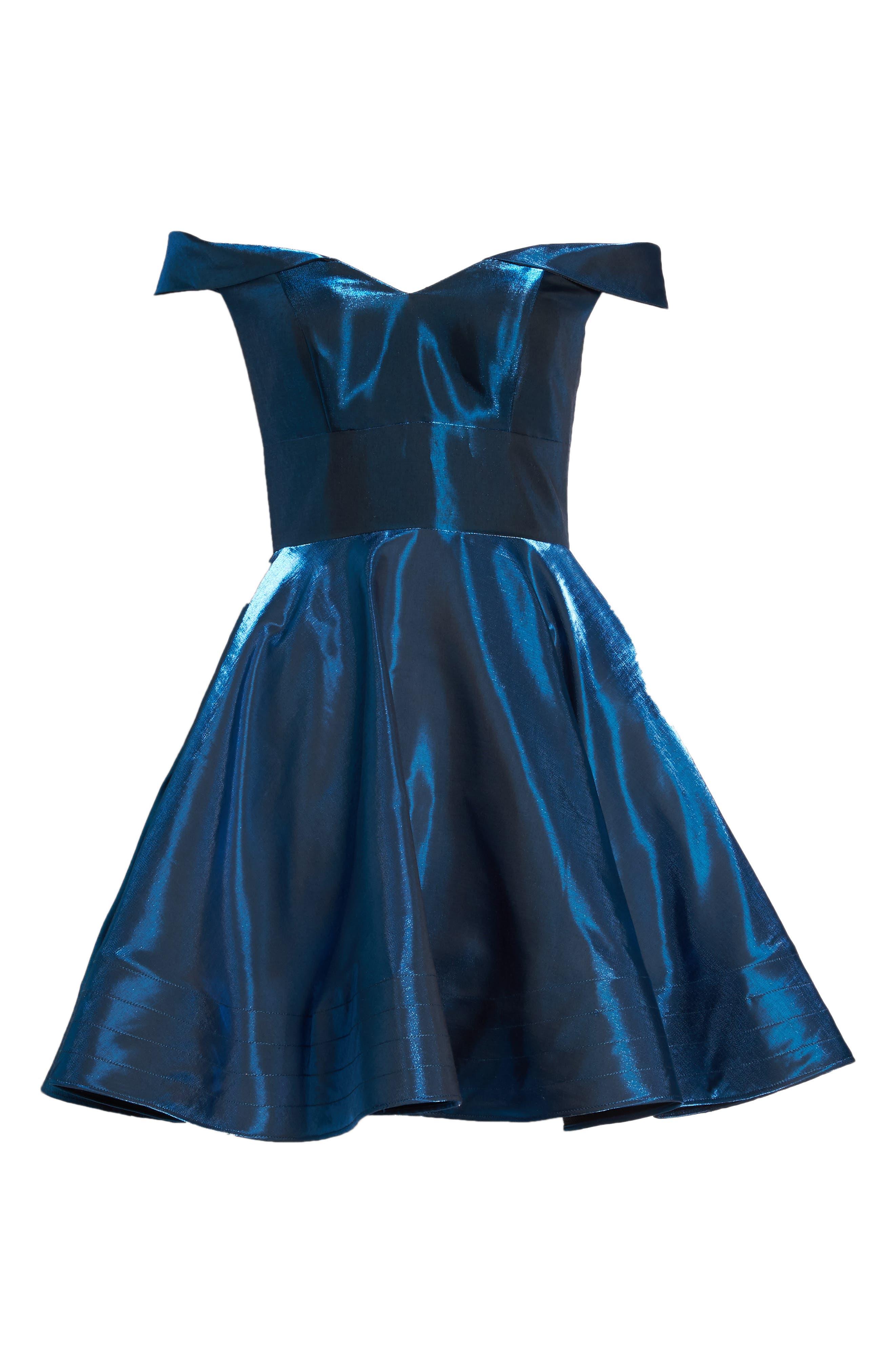 Off the Shoulder Shimmer Party Dress,                             Alternate thumbnail 7, color,                             450