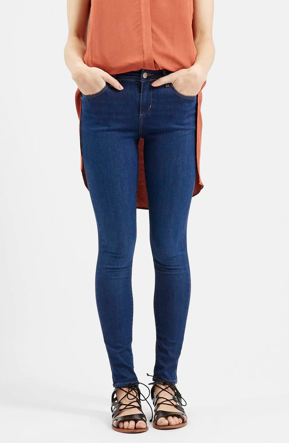 Moto 'Leigh' Ankle Skinny Jeans, Main, color, 410
