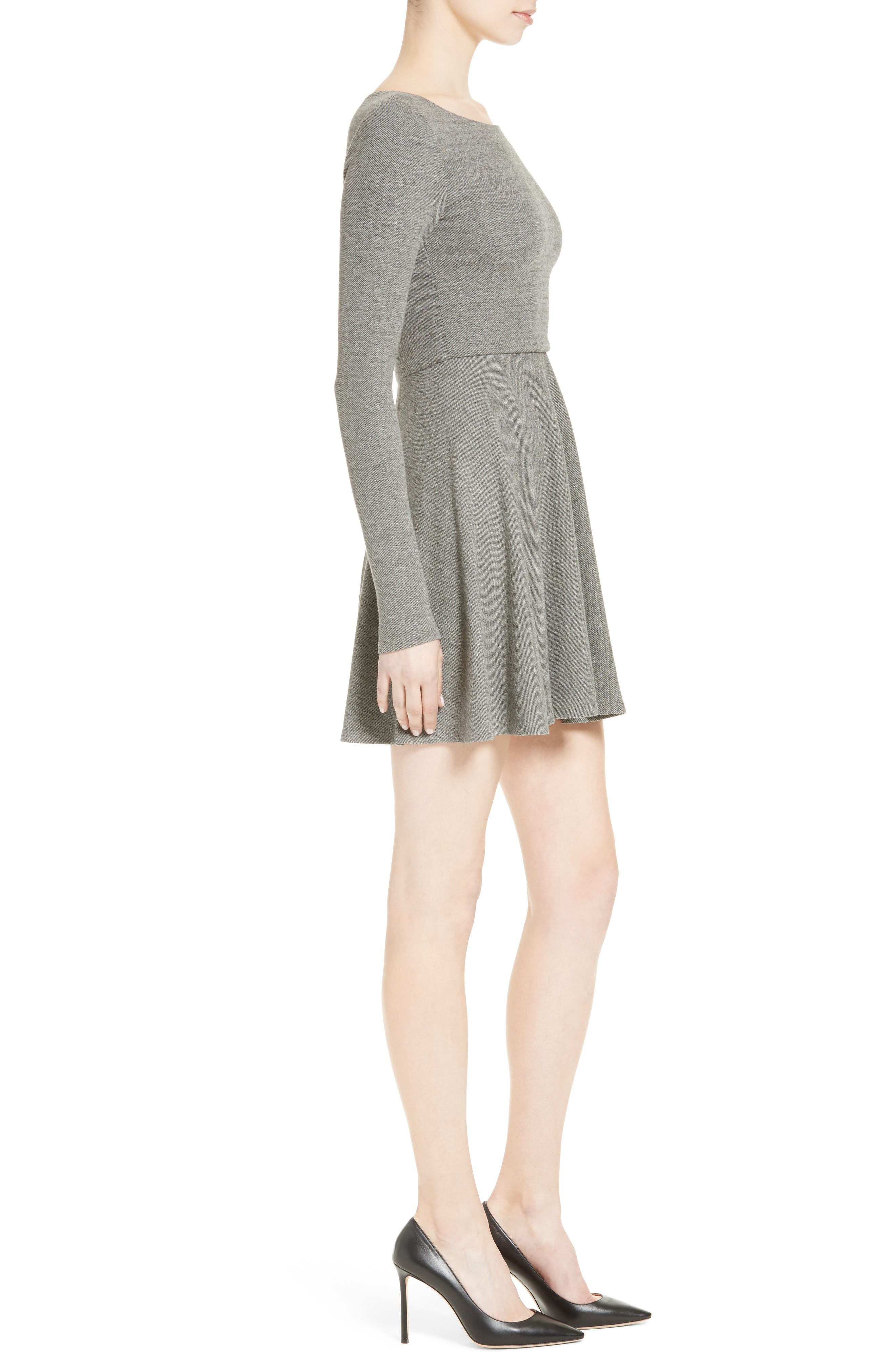 'Brinley' Long Sleeve Mini Dress,                             Alternate thumbnail 3, color,                             GREY