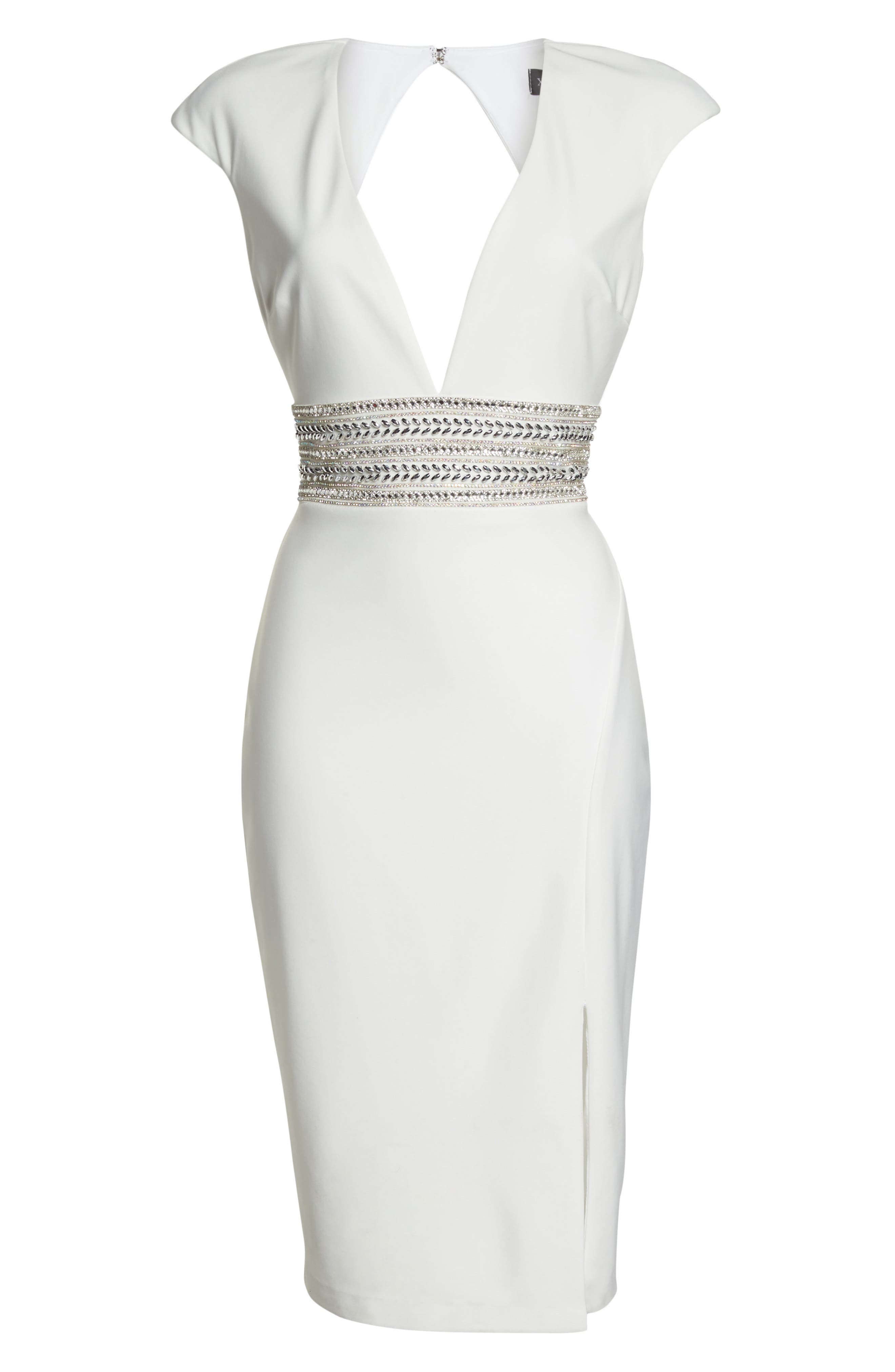 Beaded Waist Open Back Dress,                             Alternate thumbnail 7, color,                             IVORY