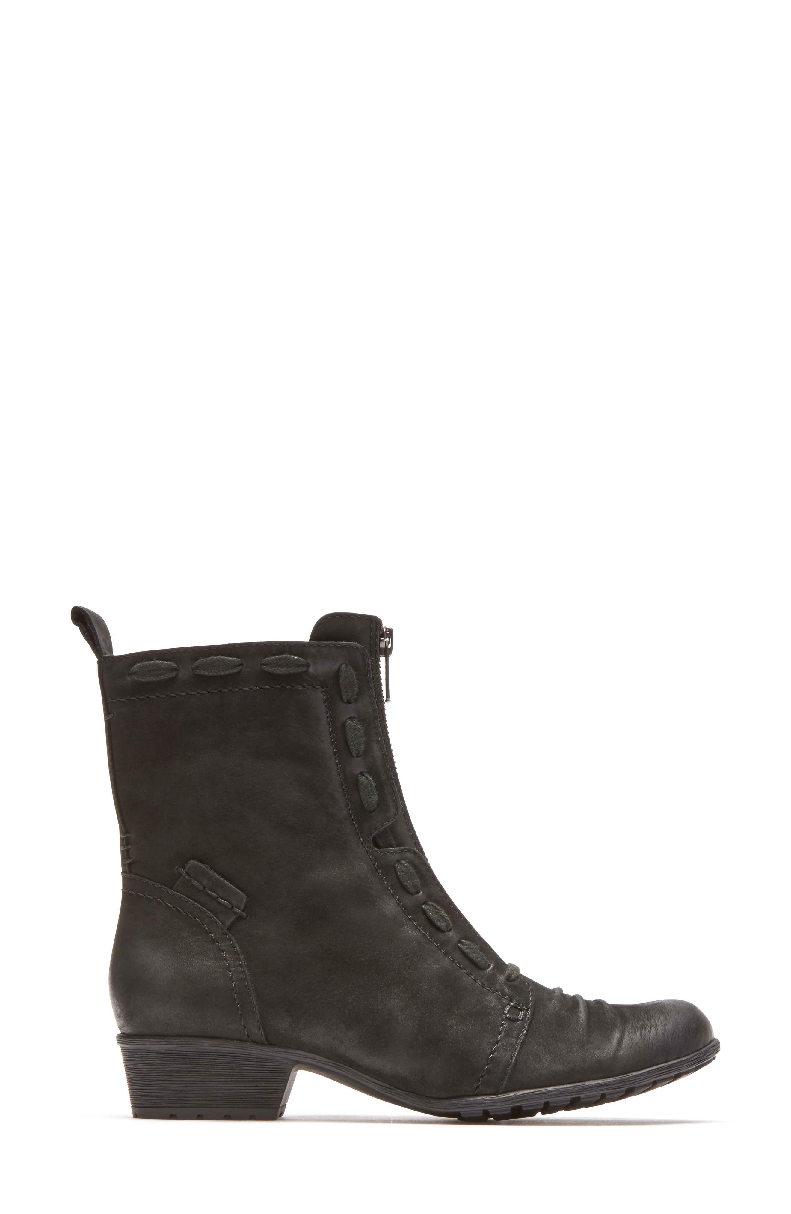 Gratasha Front Zip Boot,                             Alternate thumbnail 3, color,                             BLACK NUBUCK