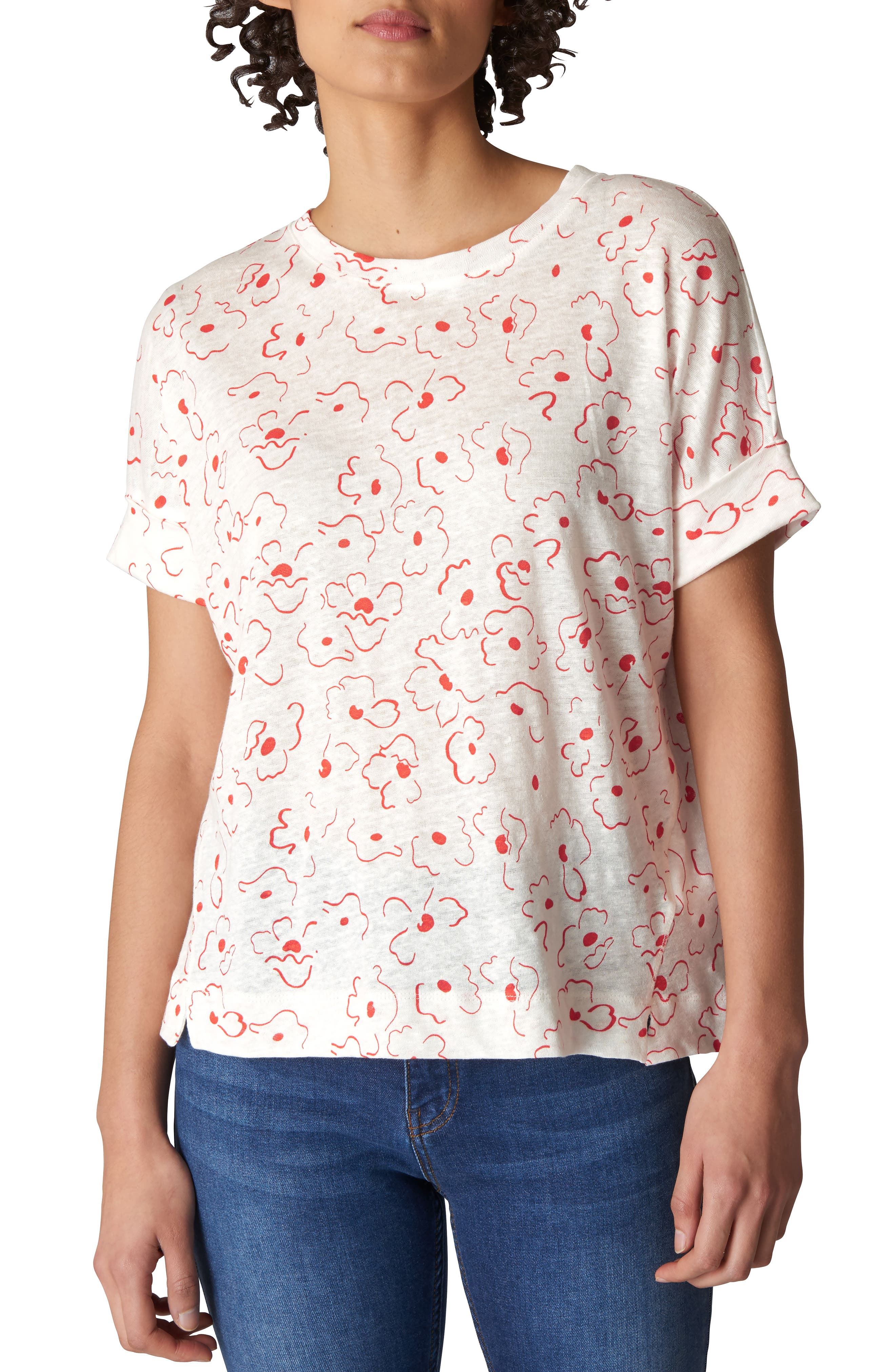 Magnolia Print Linen Tee,                         Main,                         color,