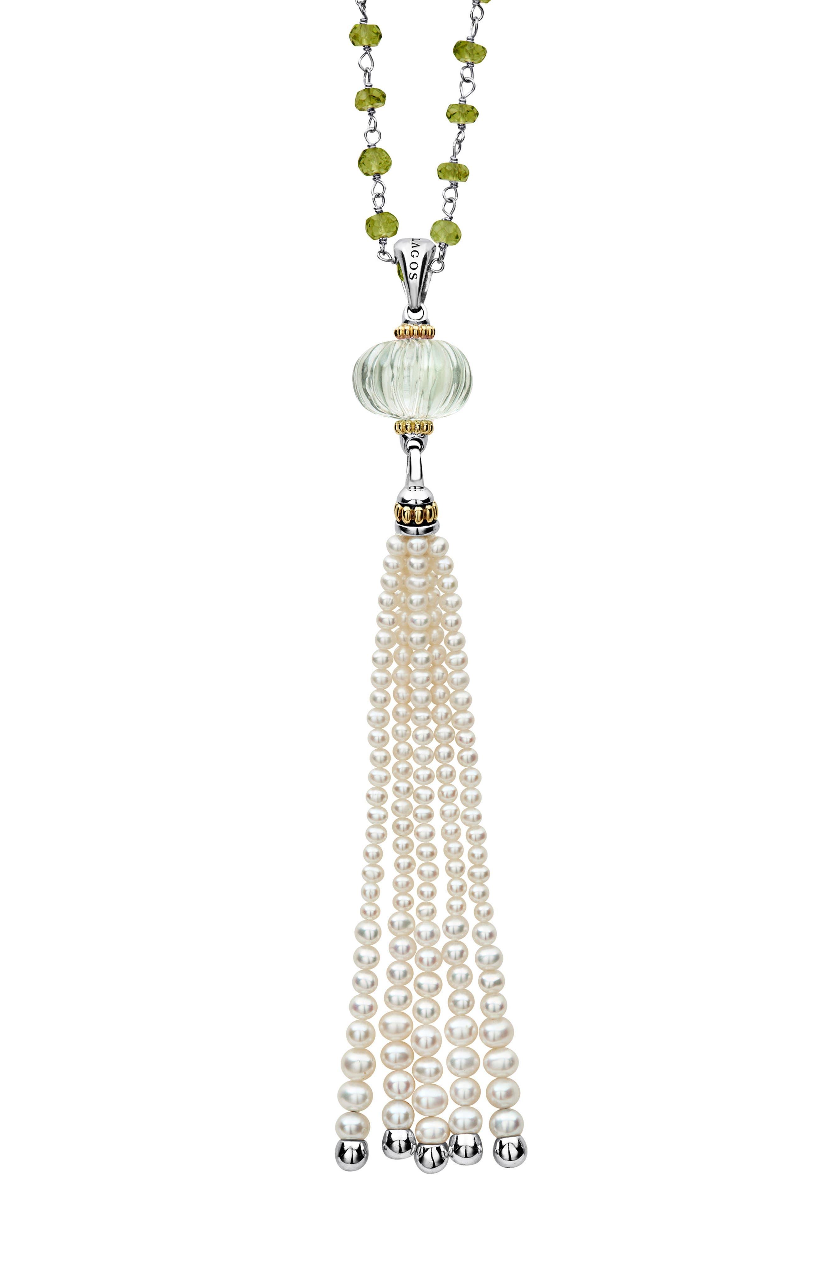 Caviar Forever Gemstone Tassel Pendant Necklace,                             Main thumbnail 1, color,                             SILVER/ GREEN AMETHYST