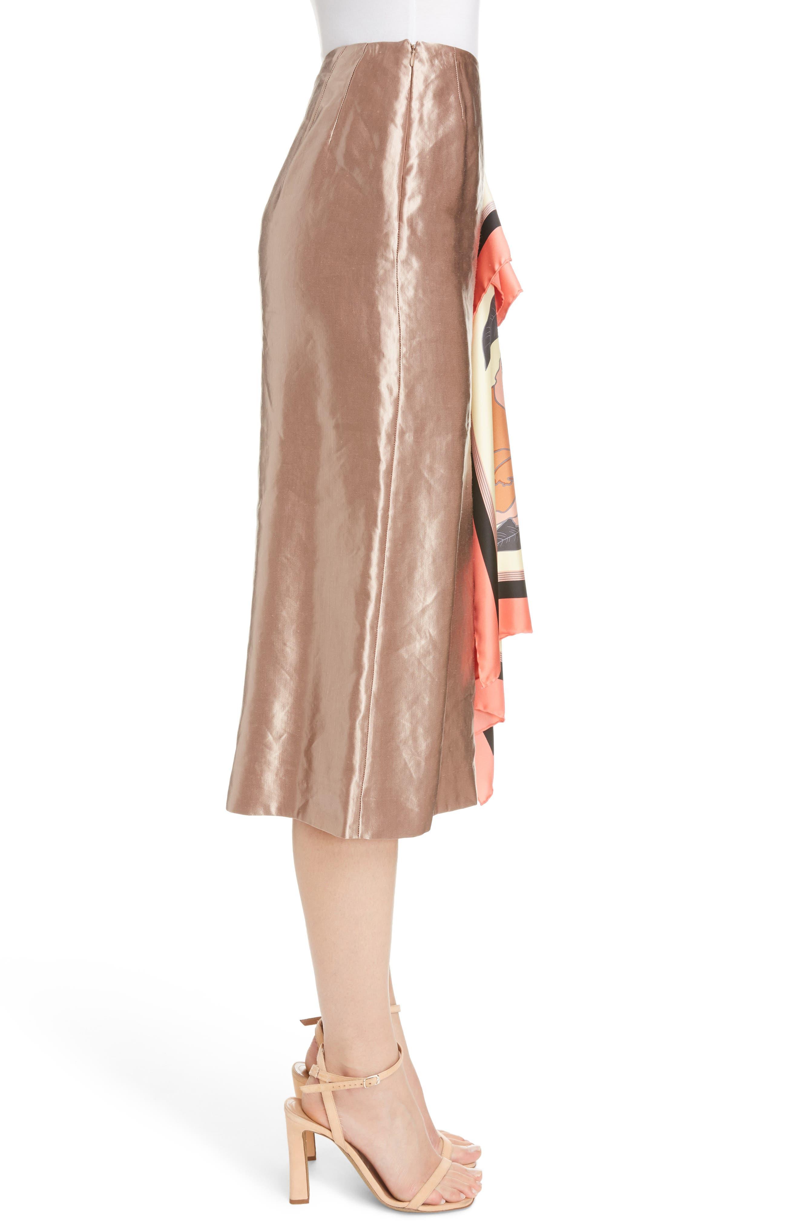 Scarf Satin Skirt,                             Alternate thumbnail 3, color,                             220