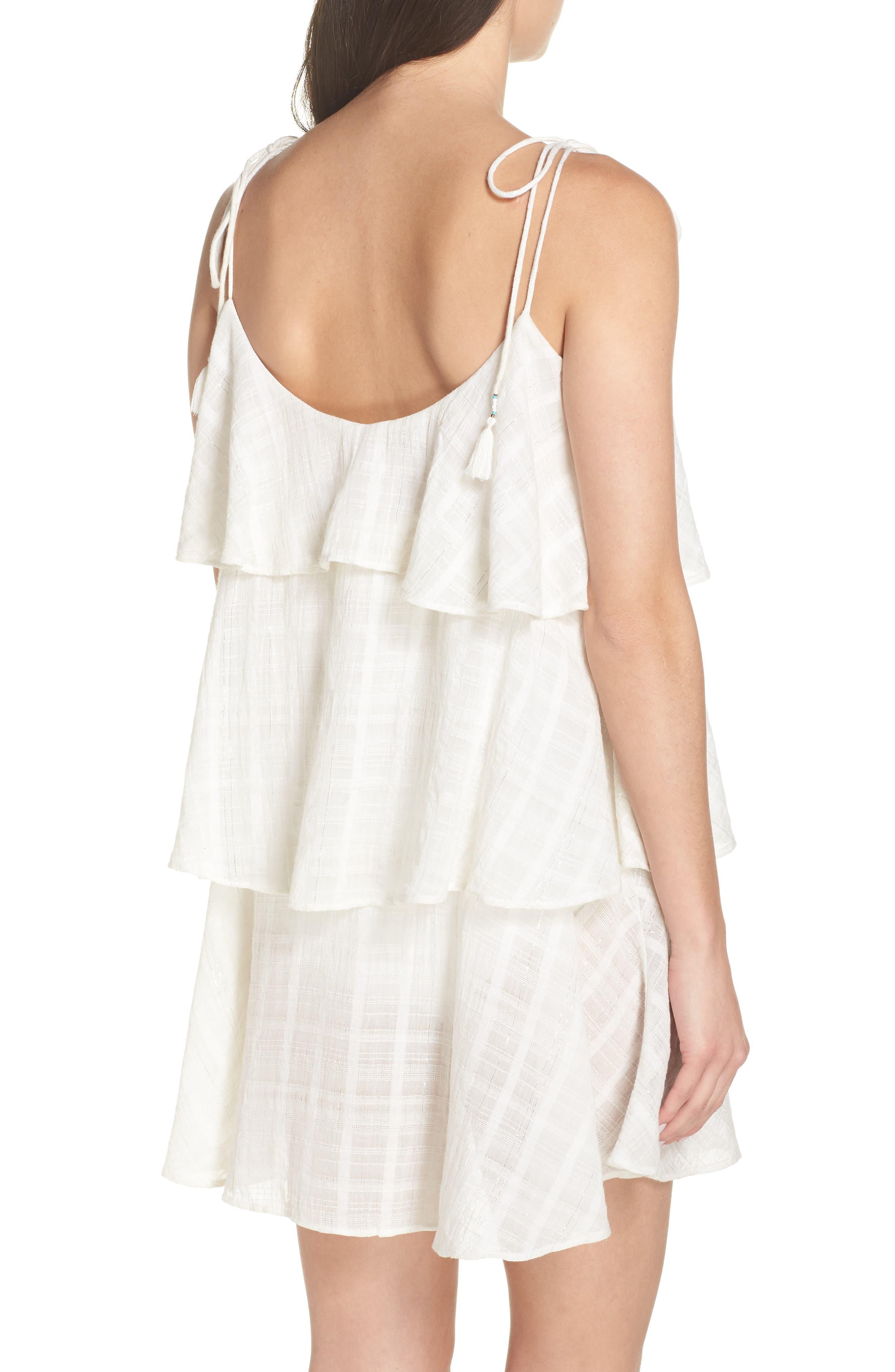 Mariah Ruffled Cover-Up Dress,                             Alternate thumbnail 2, color,                             WHITE-SILVER