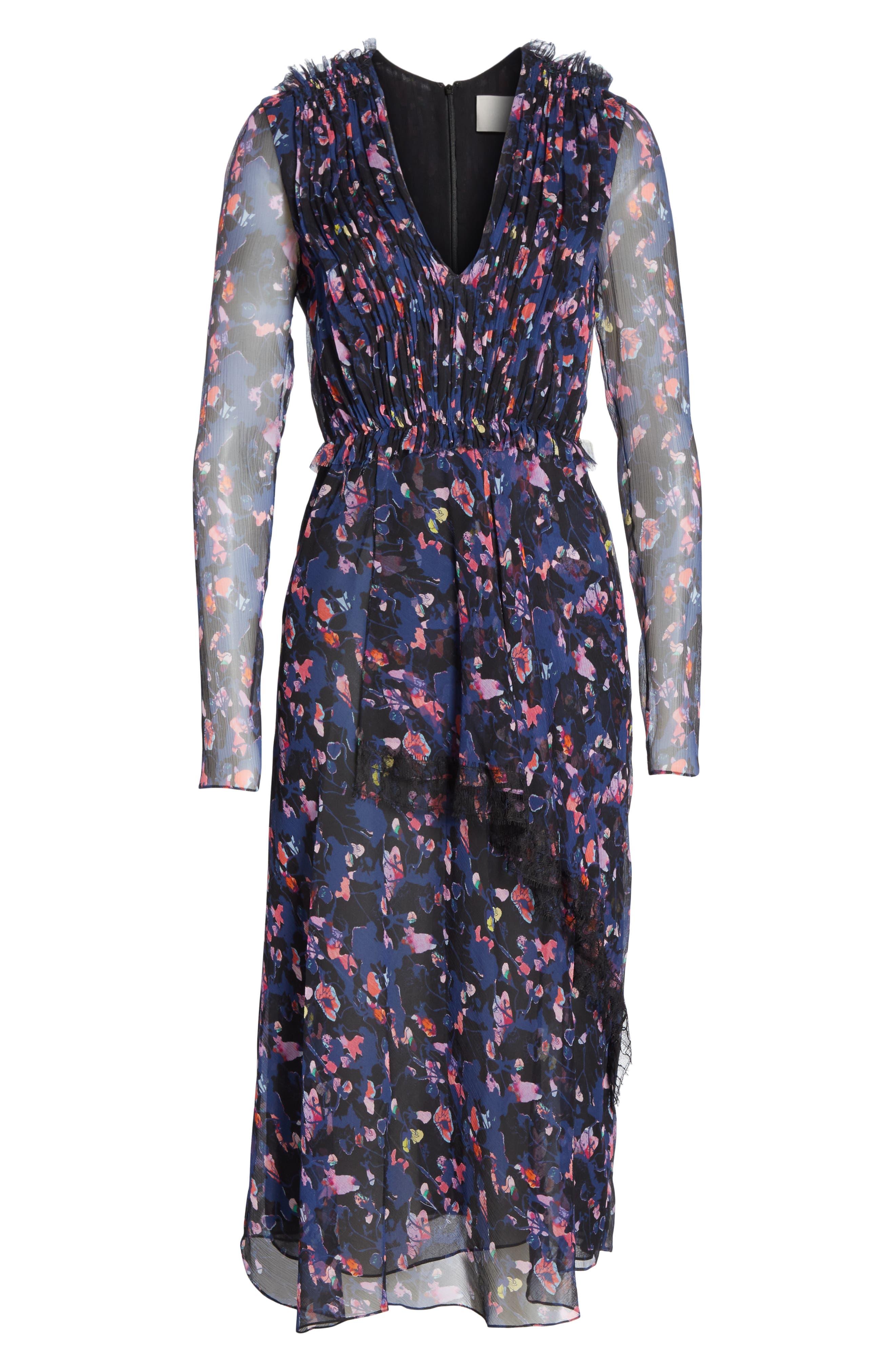 Print Silk Chiffon Midi Dress,                             Alternate thumbnail 7, color,                             BLACK MULTI