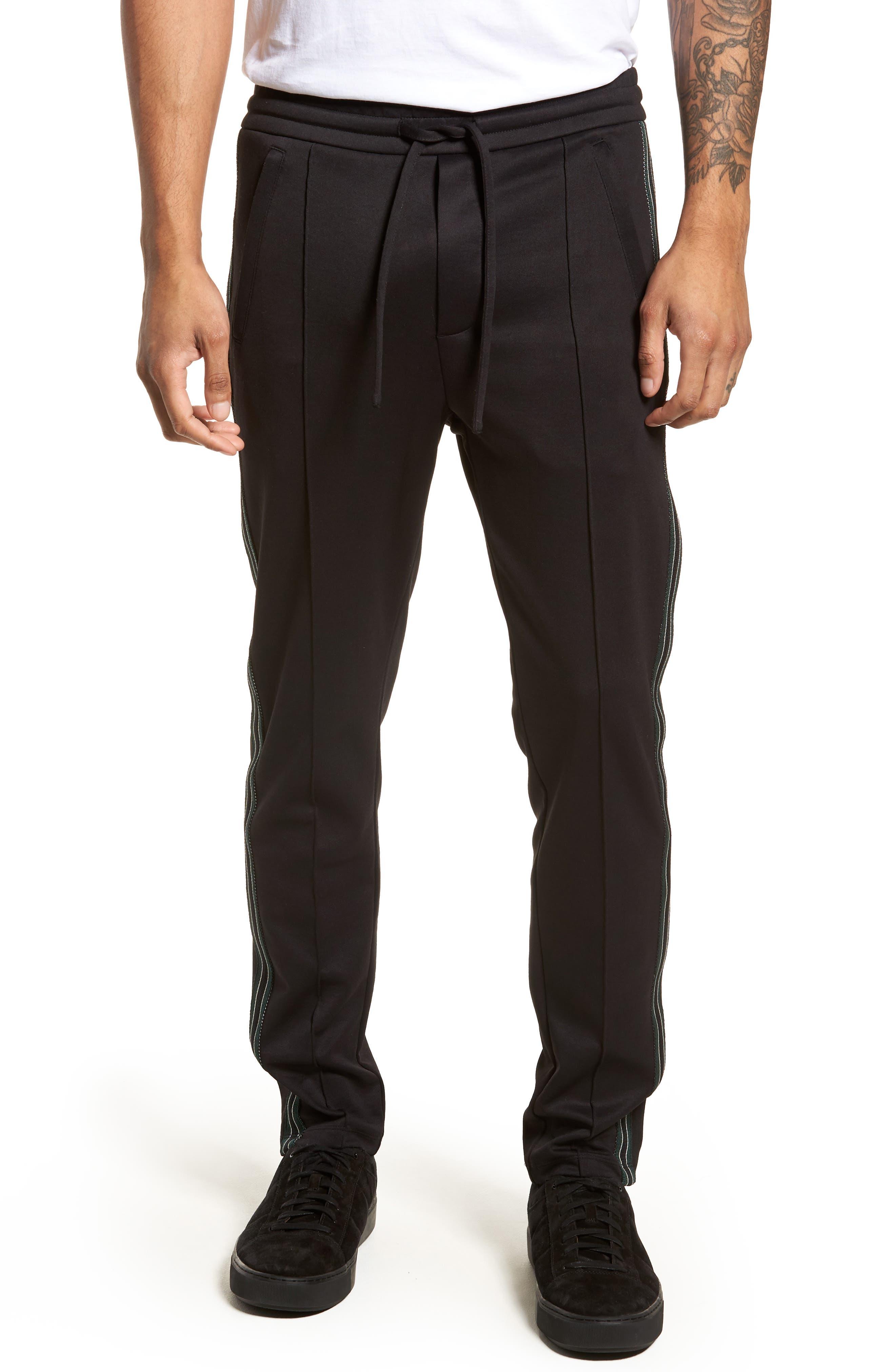 Slim Fit Track Pants,                             Main thumbnail 1, color,                             BLACK
