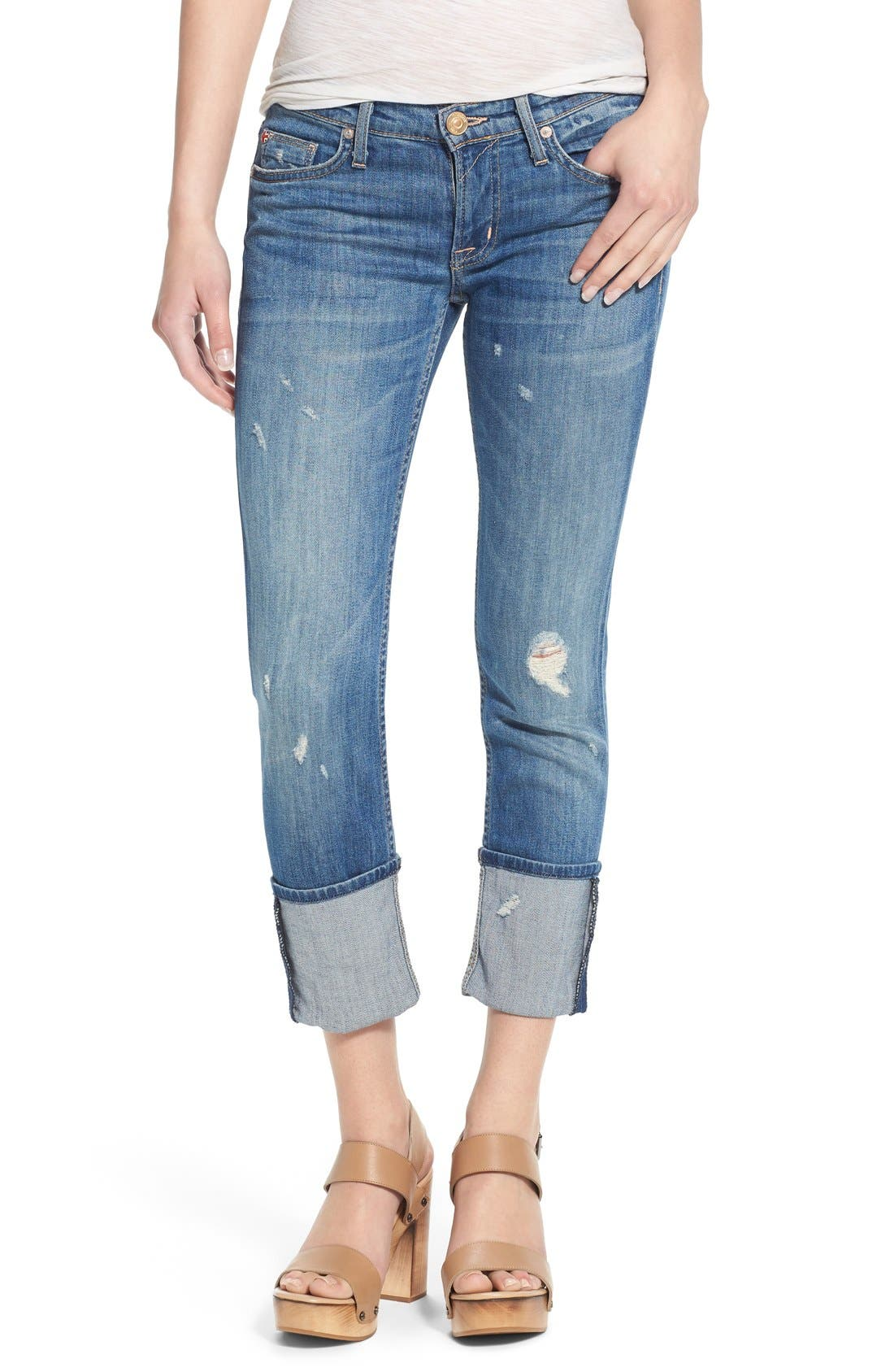 'Muse' Cuff Crop Jeans,                             Main thumbnail 1, color,                             INDIE