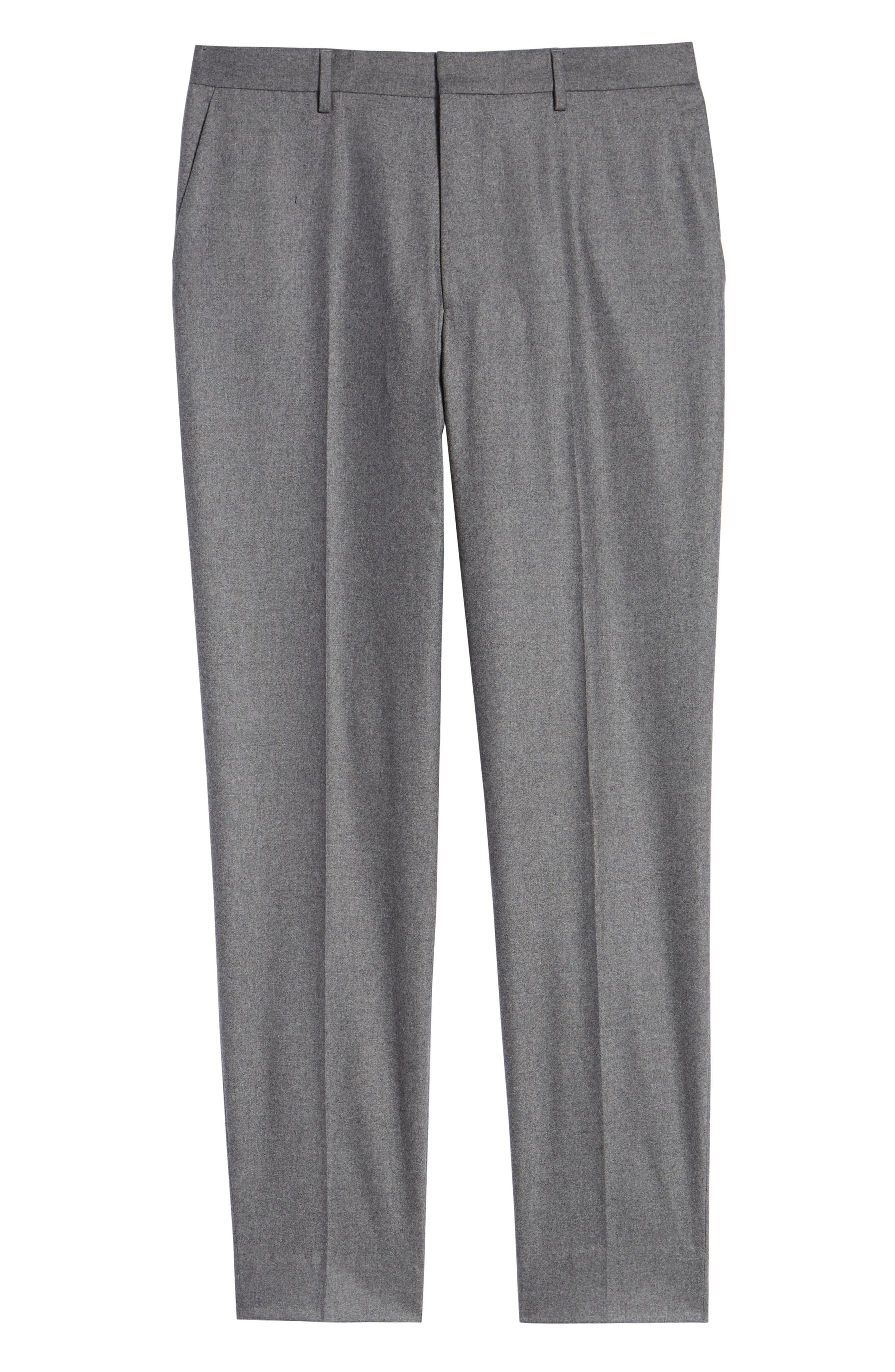 Pirko Flat Front Solid Stretch Wool Trousers,                             Alternate thumbnail 6, color,                             MEDIUM GREY