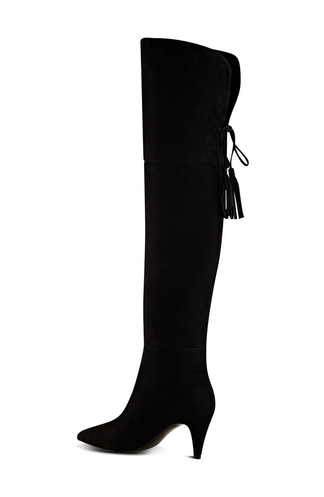 NINE WEST,                             'Josephine' Over the Knee Tassel Boot,                             Alternate thumbnail 3, color,                             001