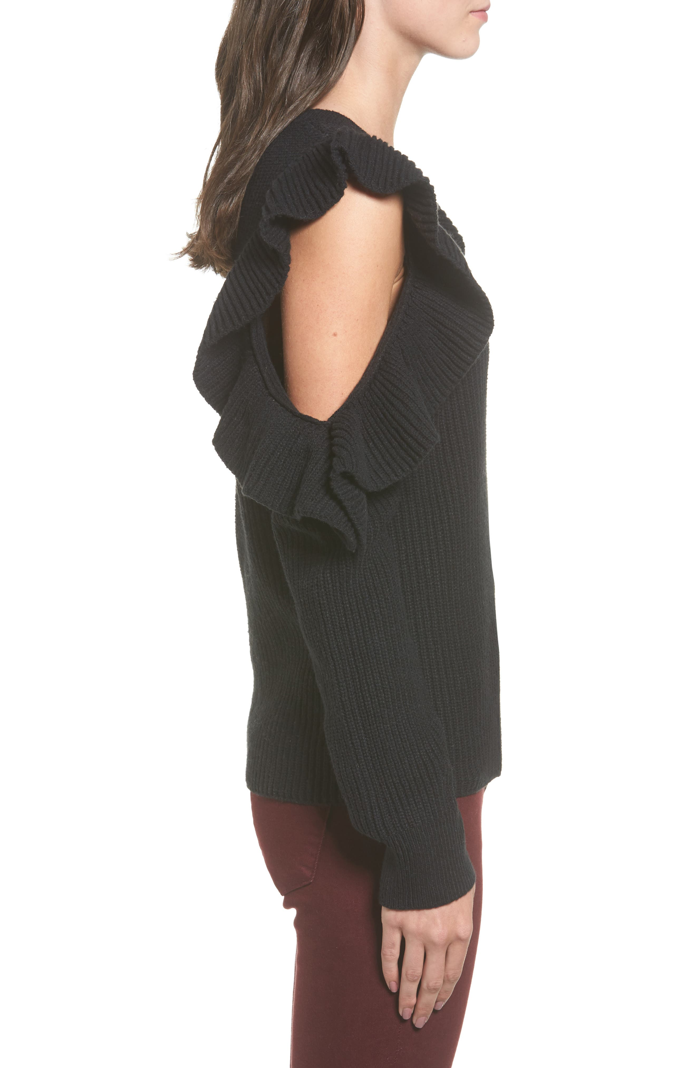 Ruffle Cold Shoulder Sweater,                             Alternate thumbnail 3, color,                             001