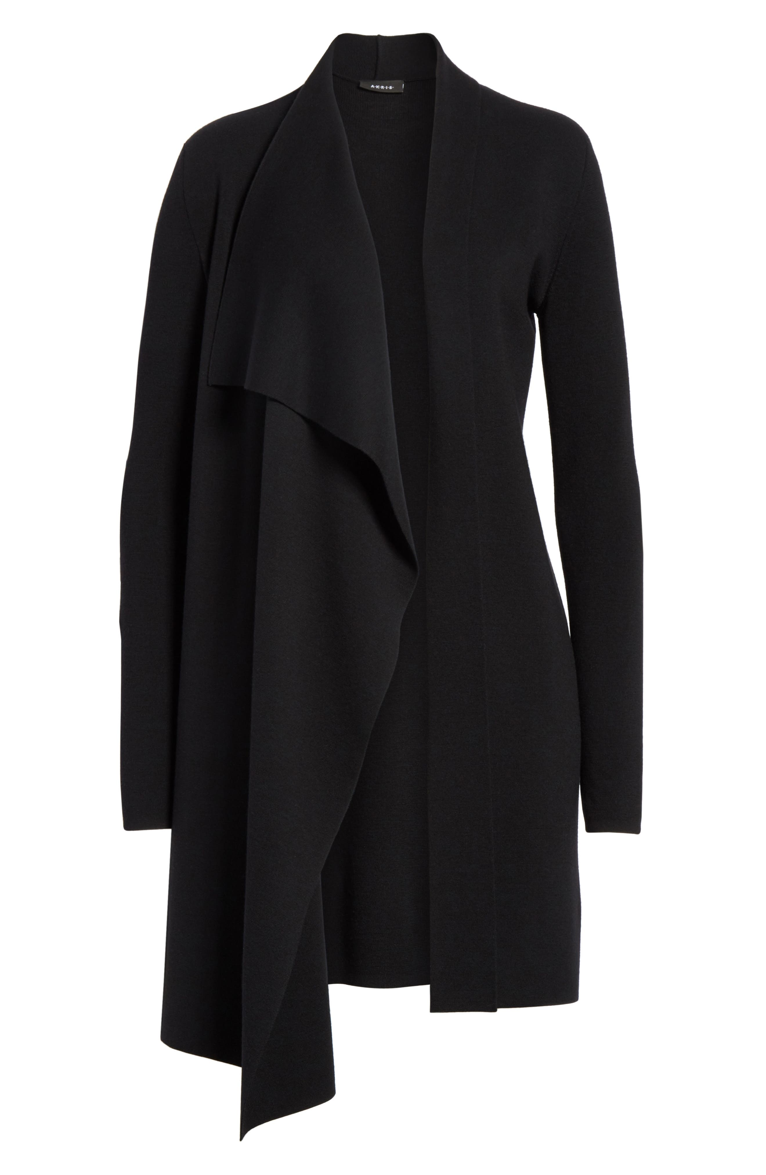 Draped Wool Knit Cardigan,                             Alternate thumbnail 7, color,                             BLACK