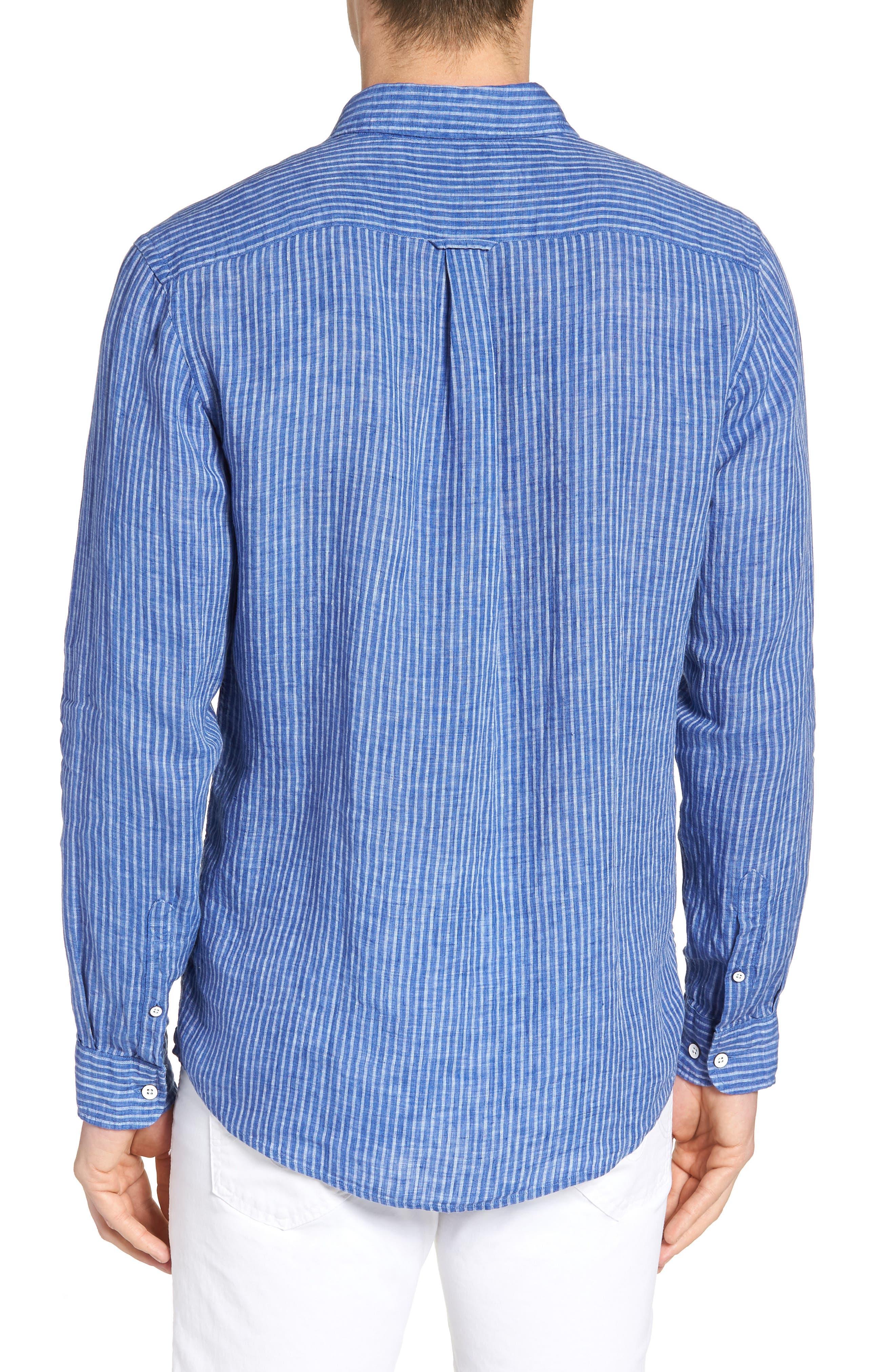Warwick Junction Stripe Linen Sport Shirt,                             Alternate thumbnail 2, color,                             ULTRAMARINE