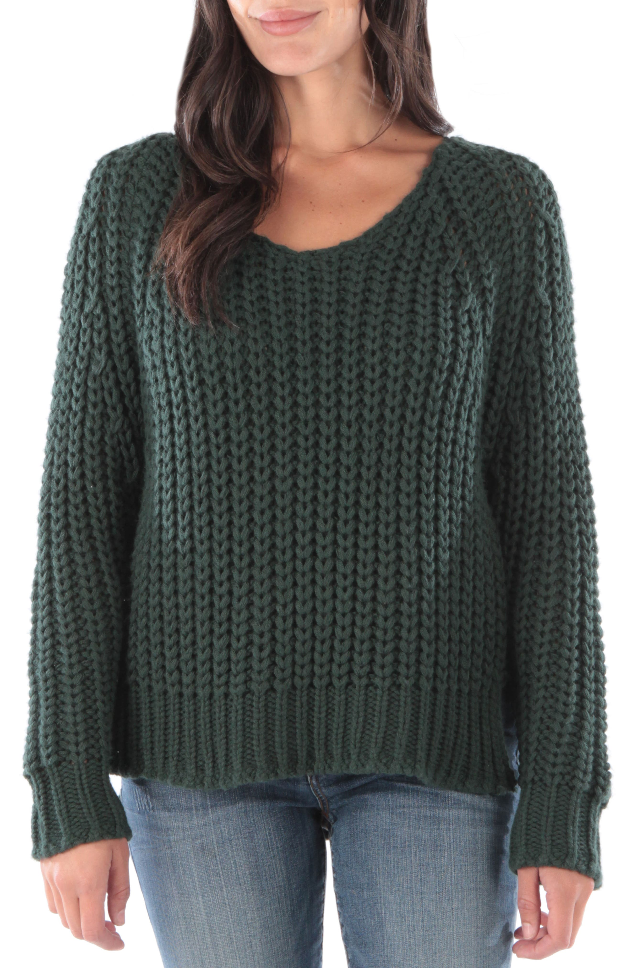Valeria Sweater,                         Main,                         color, FOREST GREEN