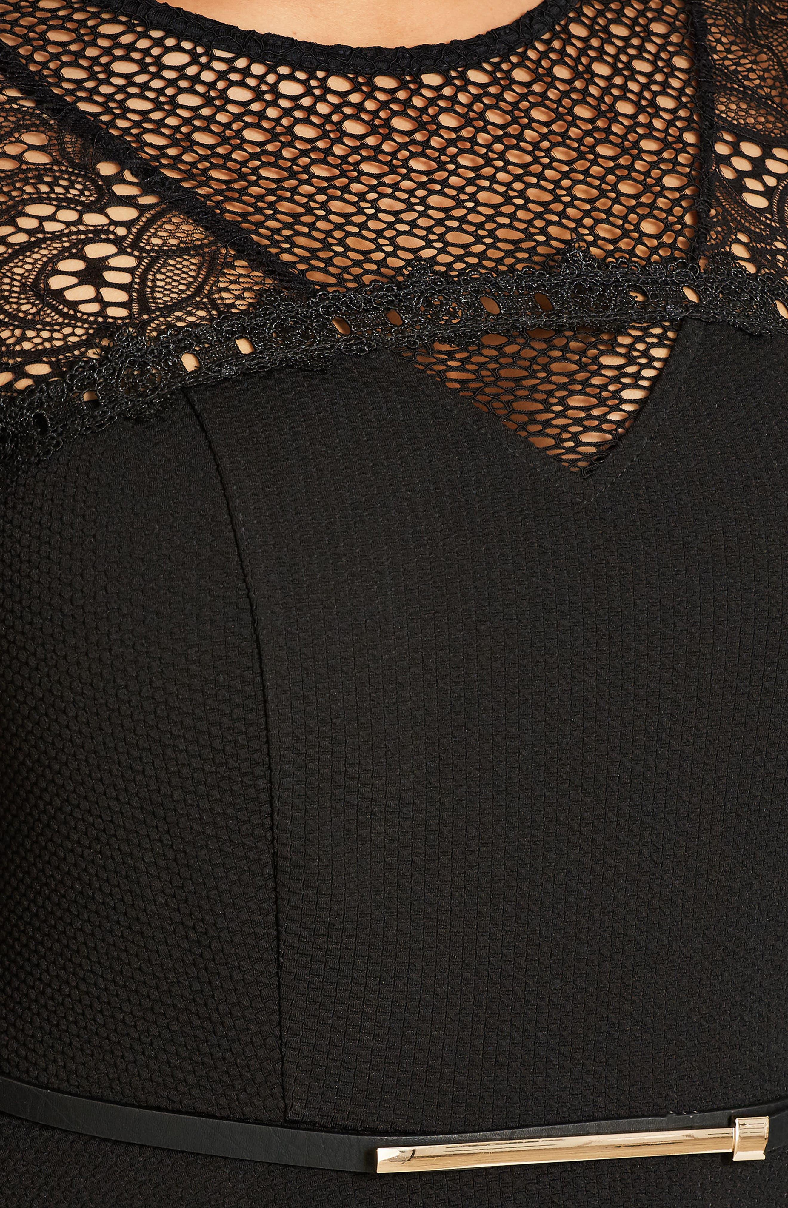 CITY CHIC,                             Lace Fever Dress,                             Alternate thumbnail 5, color,                             001