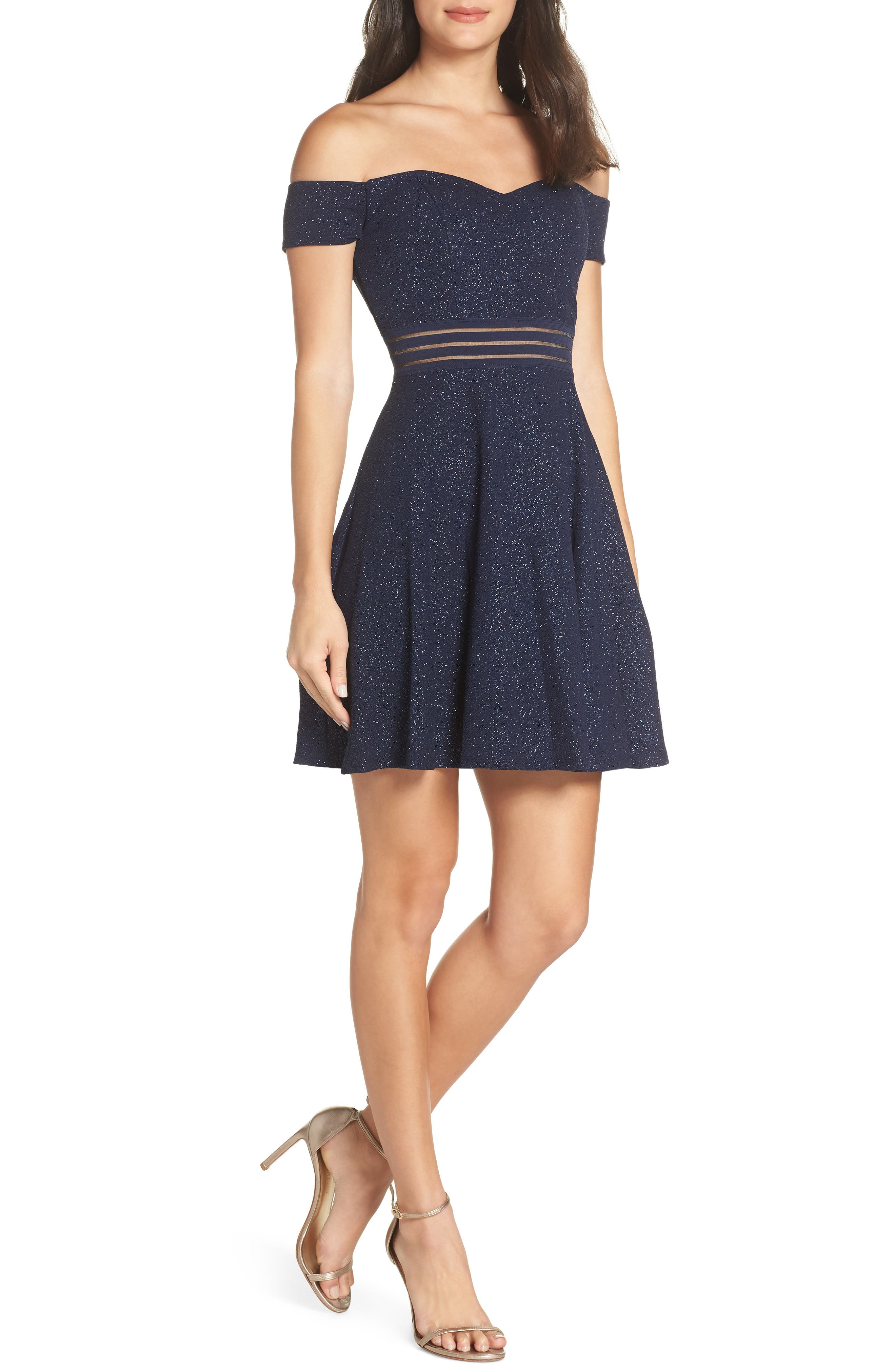 Off the Shoulder Glitter Knit Dress,                         Main,                         color, NA NAVY