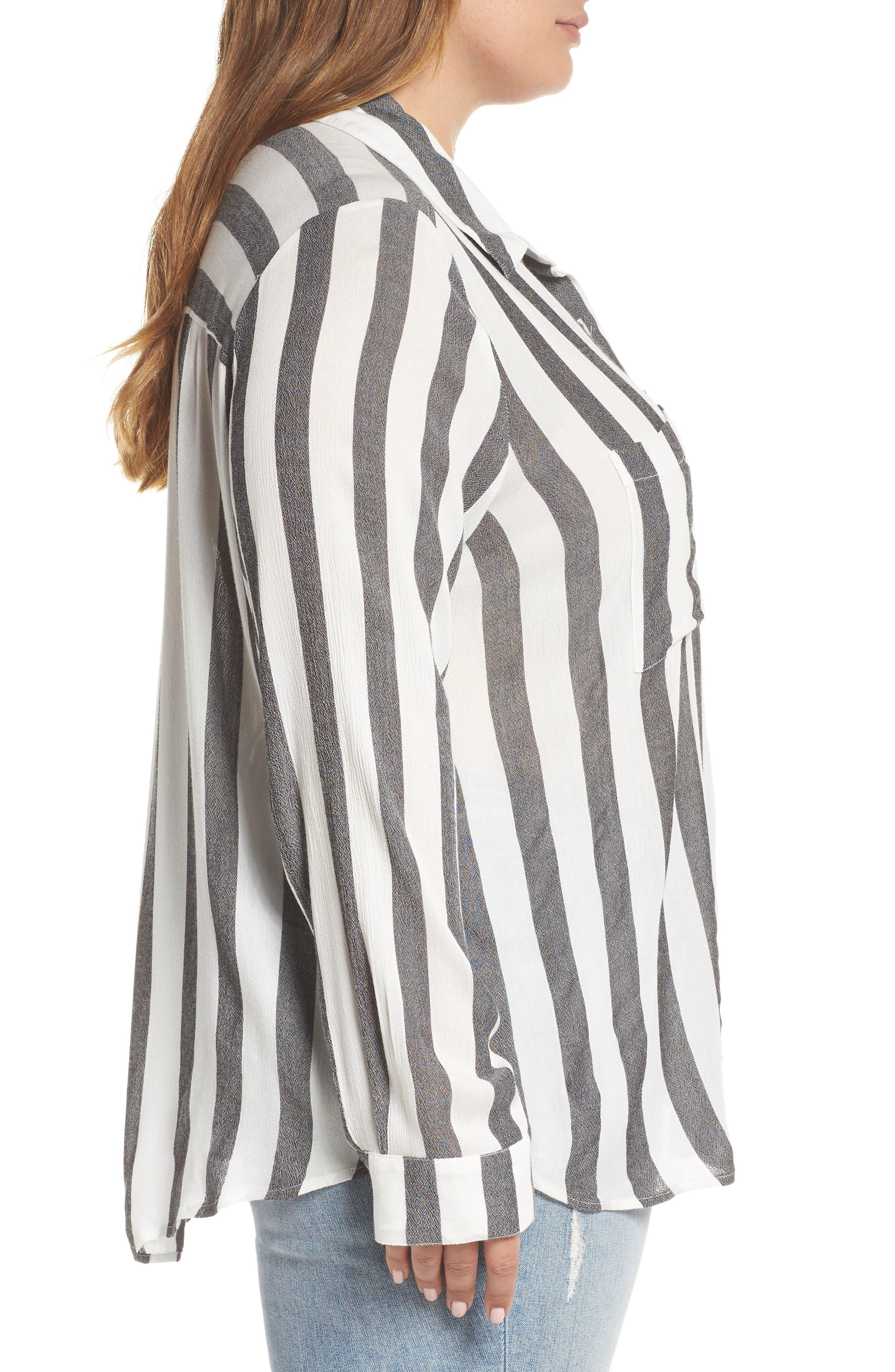 BP.,                             Perfect Stripe Shirt,                             Alternate thumbnail 3, color,                             001