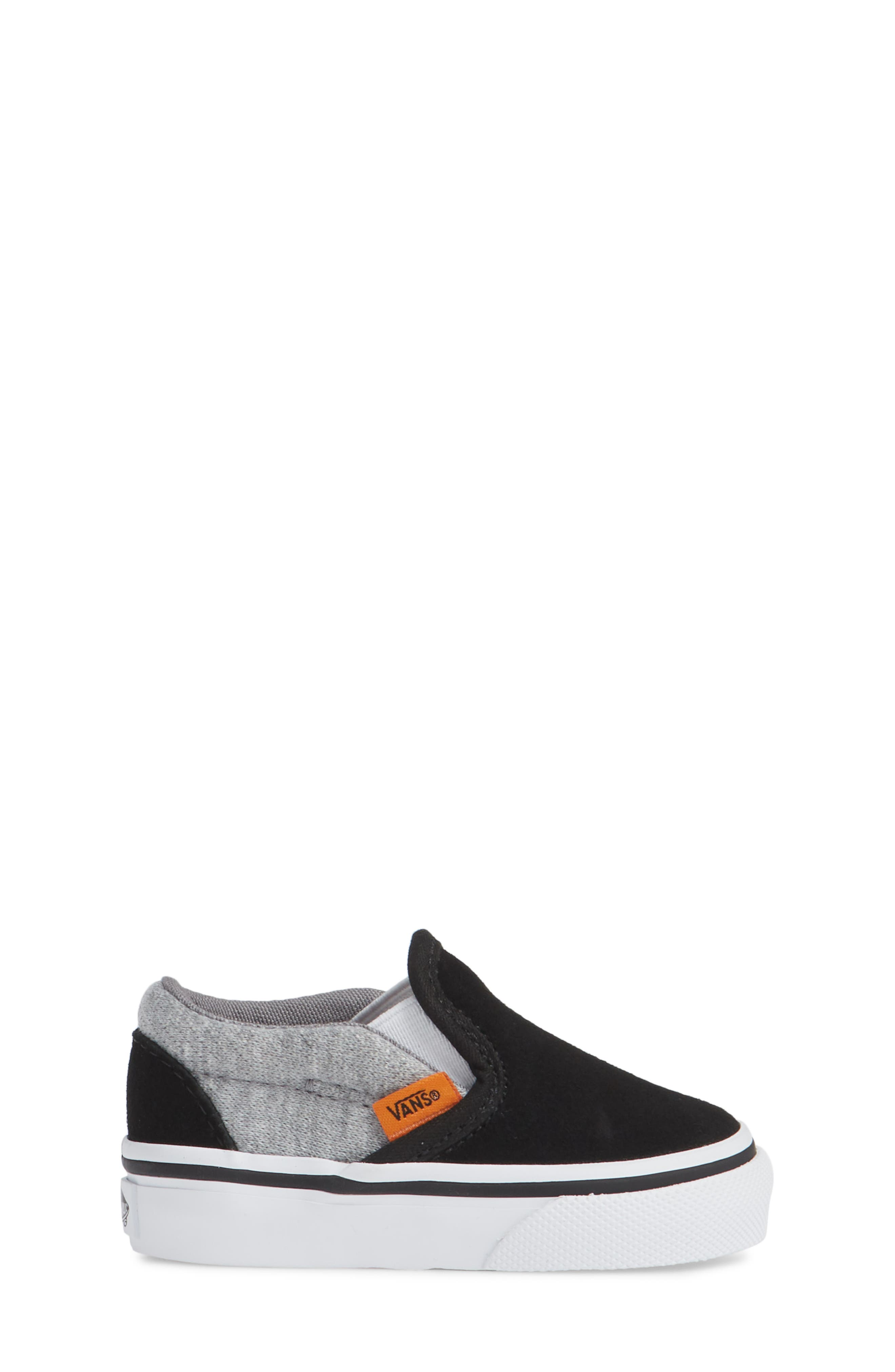 'Classic' Slip-On,                             Alternate thumbnail 3, color,                             SUEDE AND JERSEY GRAY/ BLACK
