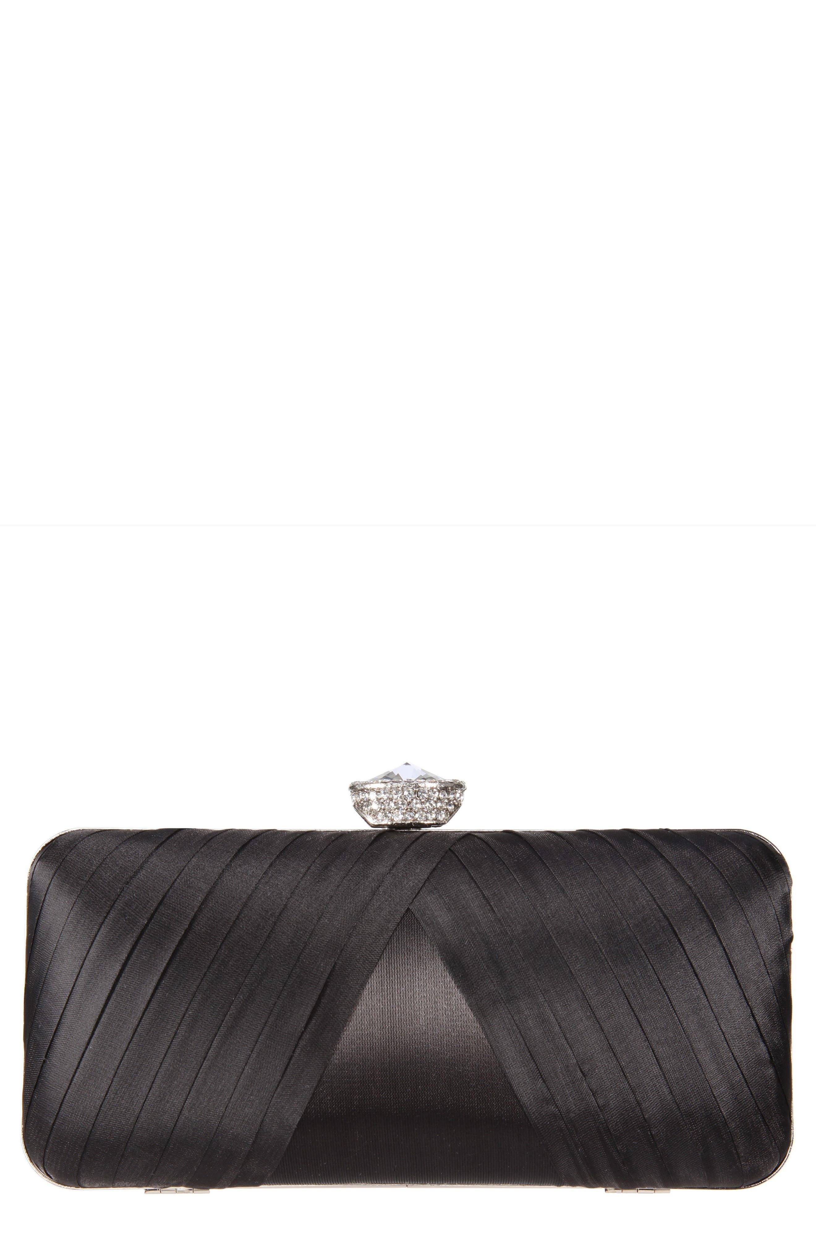Hypatia Pleated Satin Minaudière,                         Main,                         color, BLACK