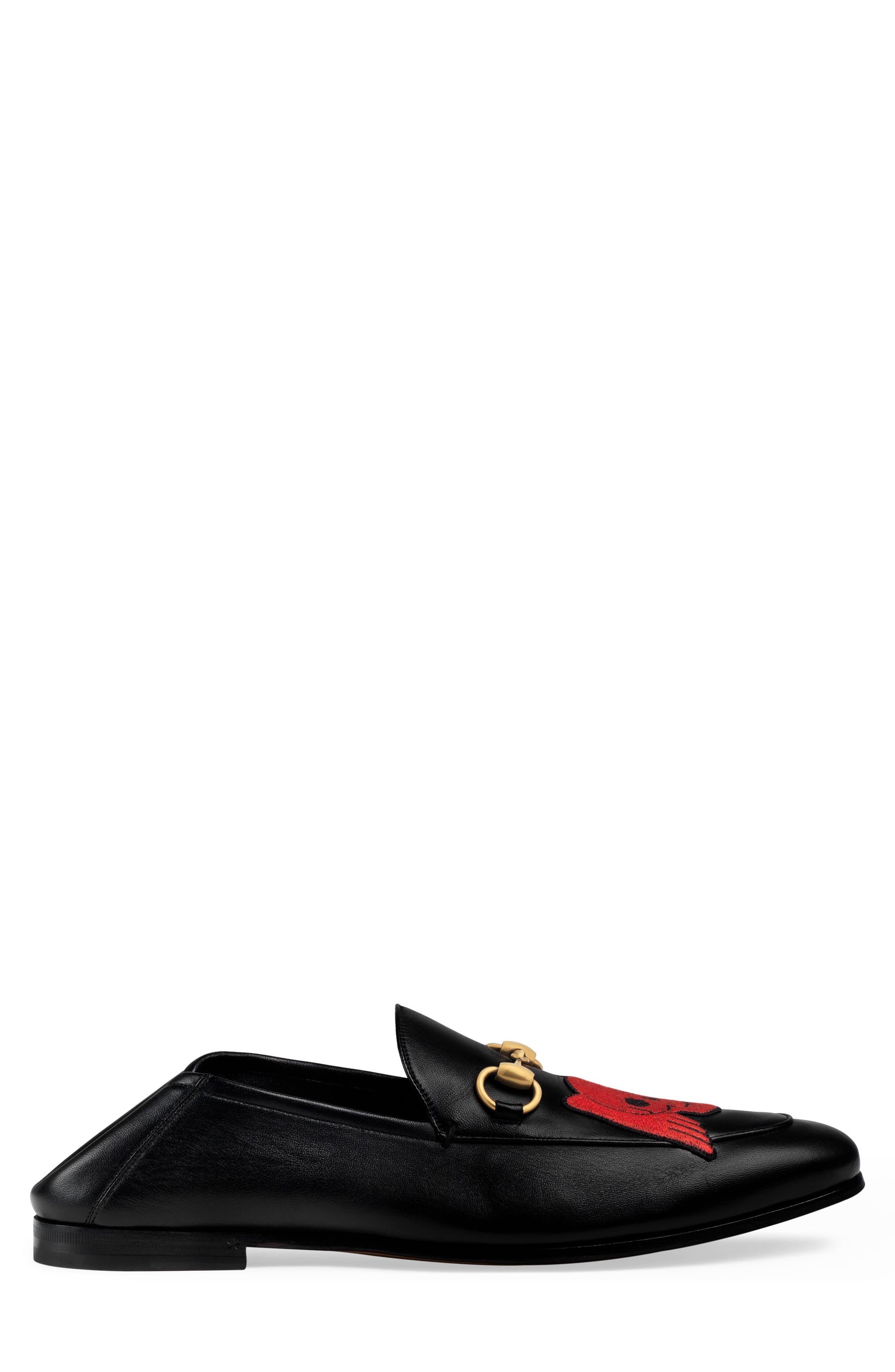 Brixton Embroidered Loafer,                             Alternate thumbnail 3, color,                             BLACK/ BLACK