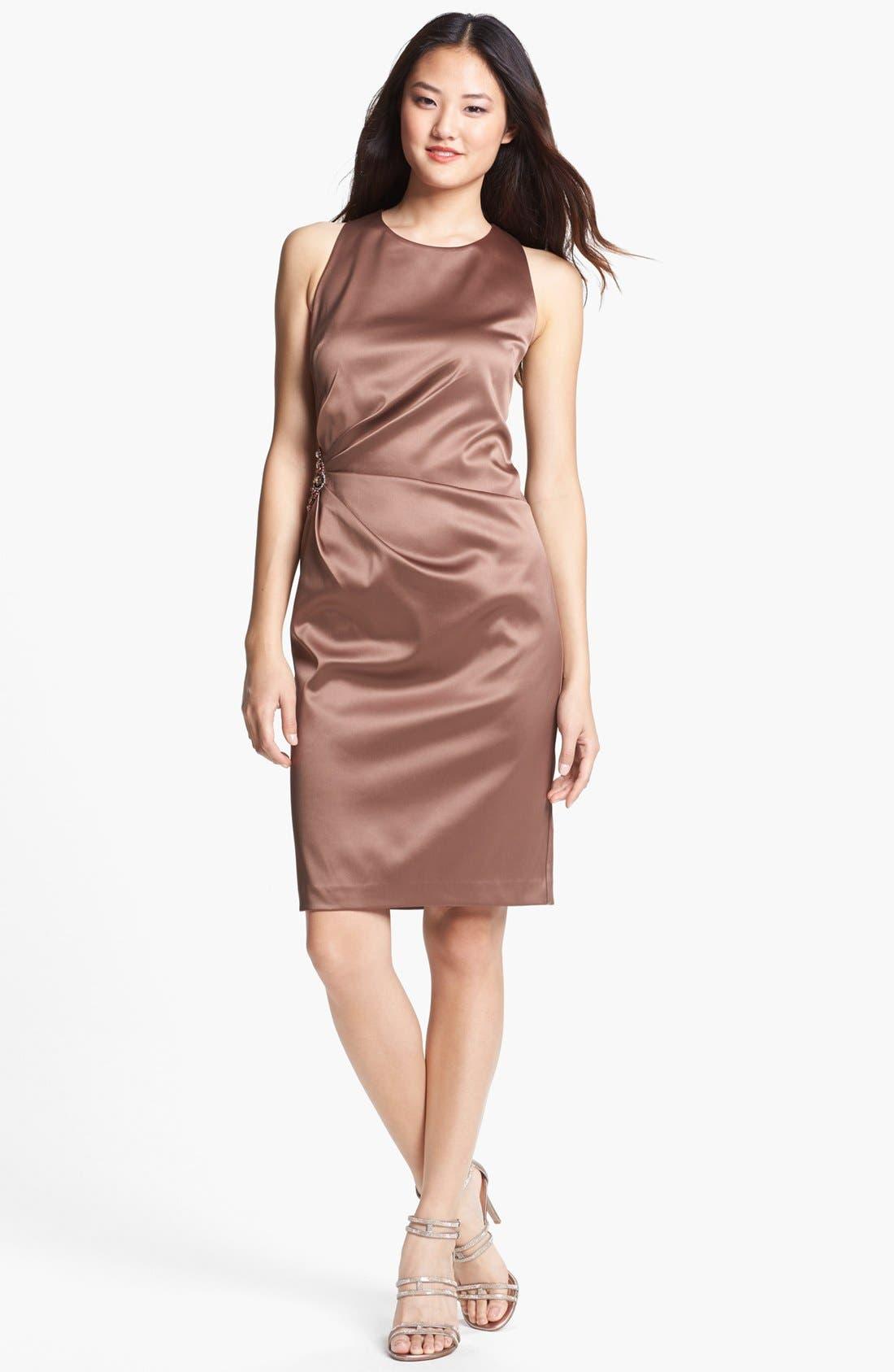 Embellished Side Ruched Sheath Dress,                             Main thumbnail 2, color,