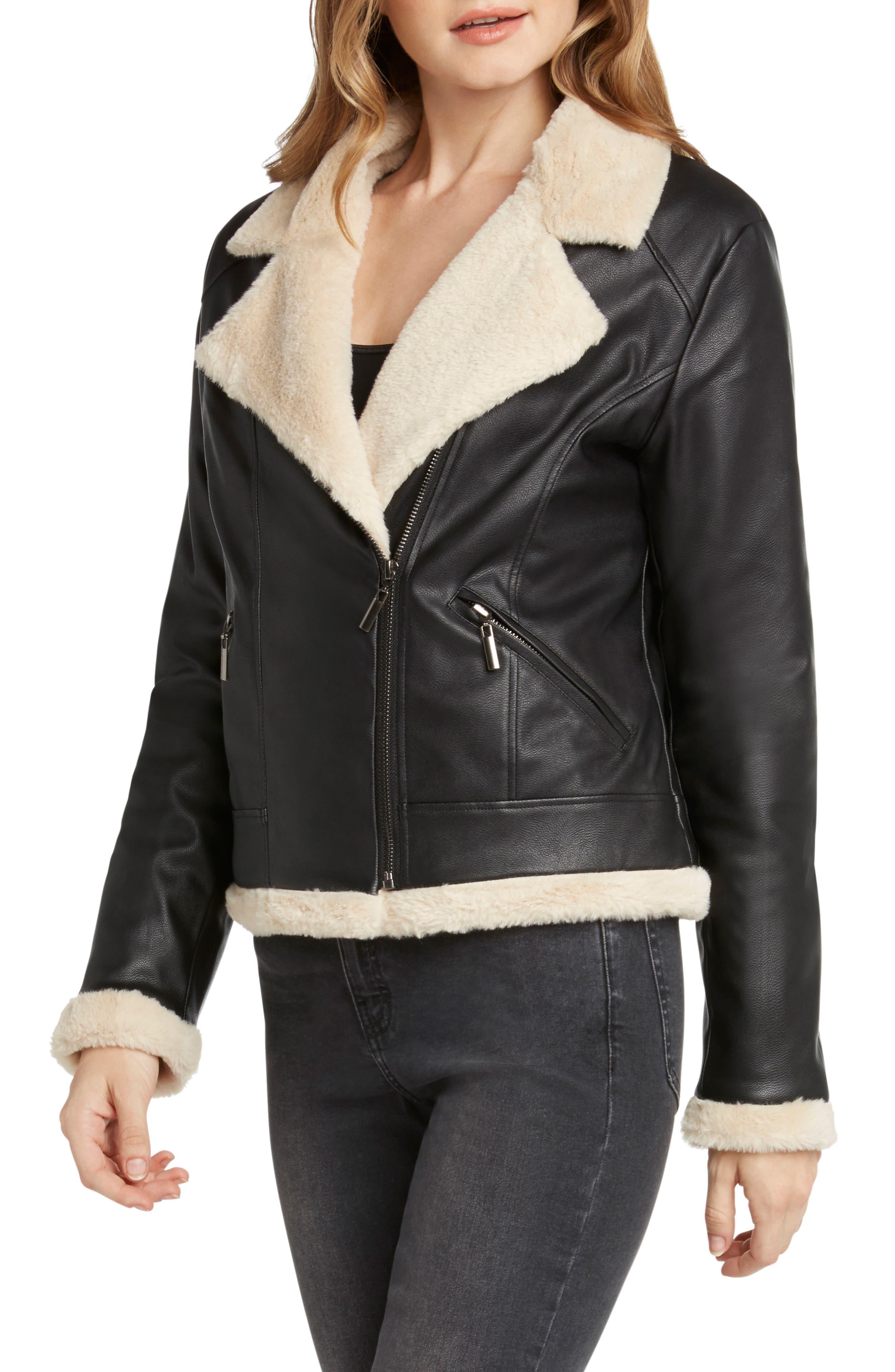 Faux Fur Lined Moto Jacket,                             Alternate thumbnail 3, color,                             BLACK