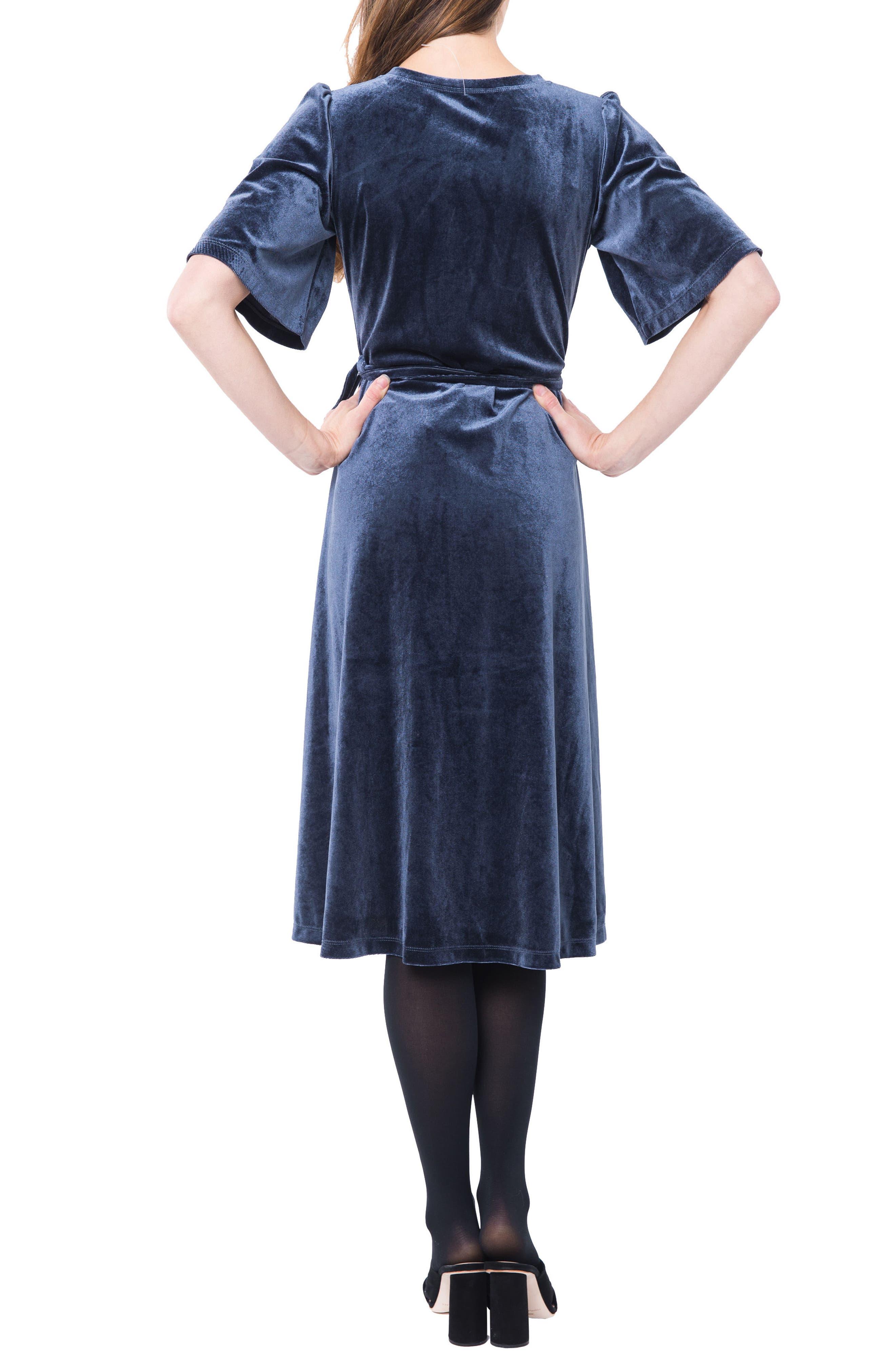 Genevieve Velvet Maternity/Nursing Dress,                             Alternate thumbnail 2, color,                             SLATE