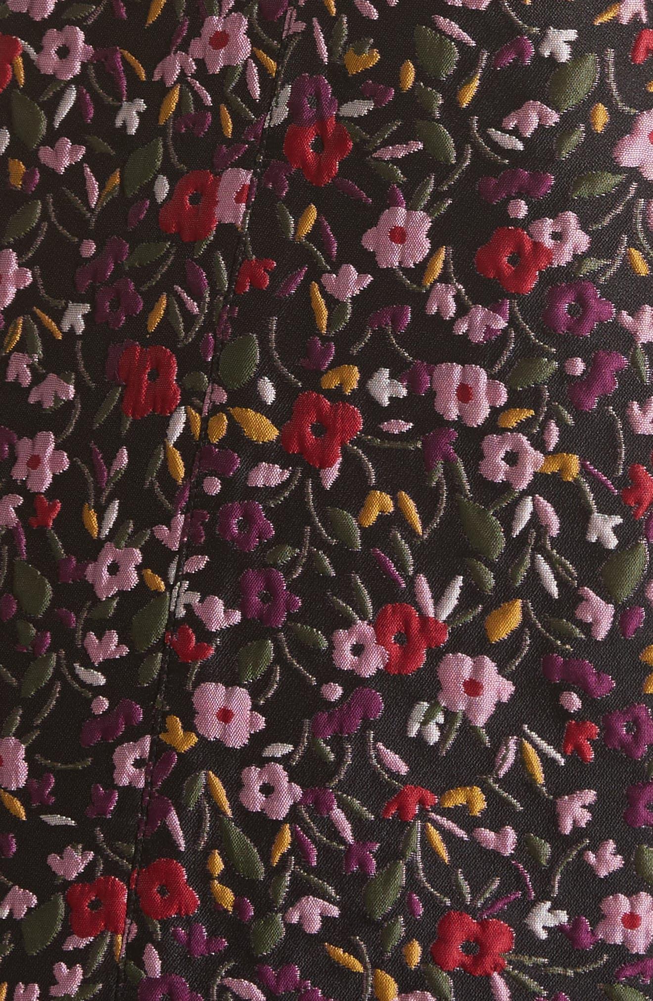detachable collar floral jacquard dress,                             Alternate thumbnail 5, color,                             006