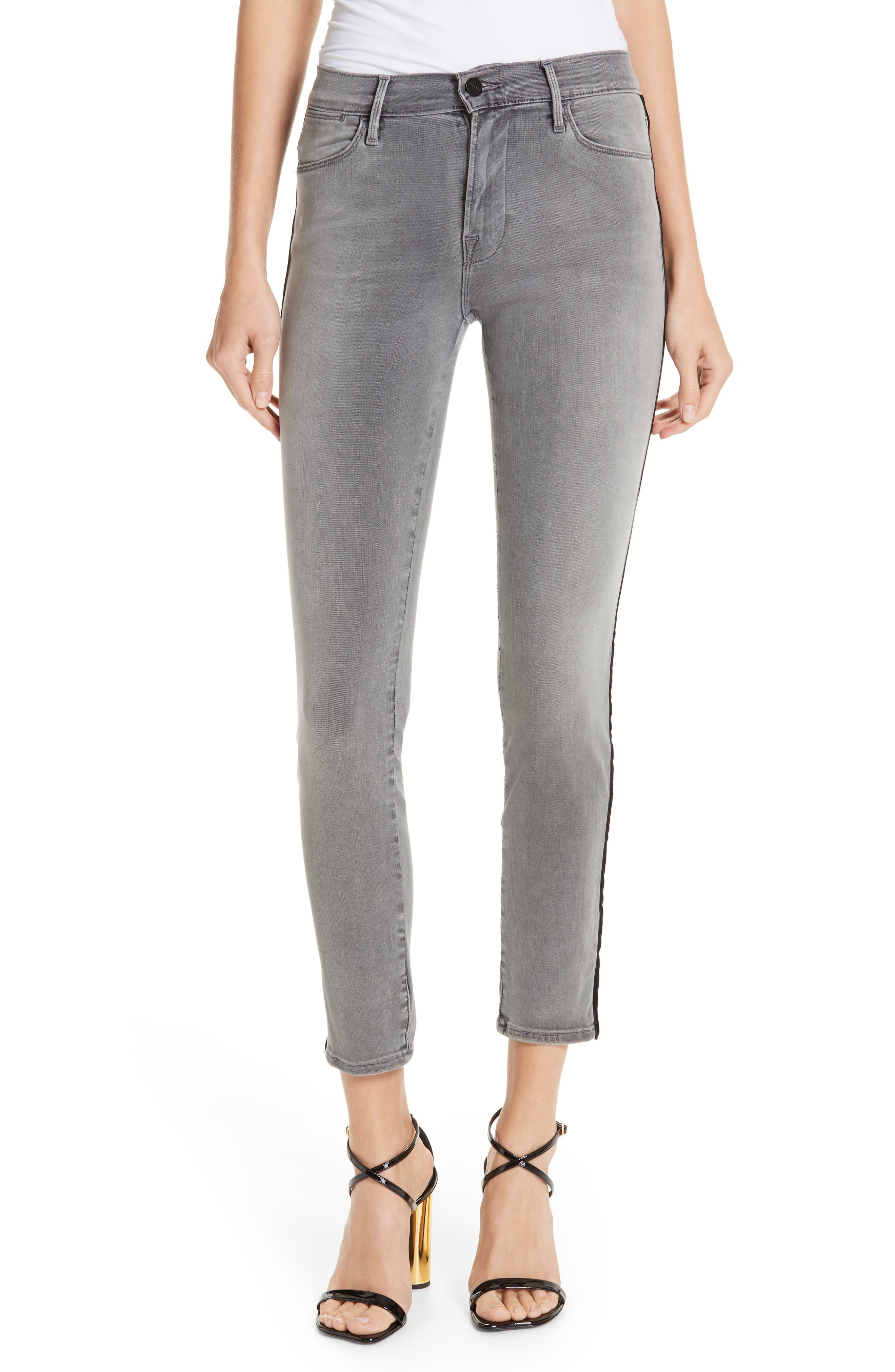 Le High Velvet Tuxedo Stripe Ankle Skinny Jeans,                         Main,                         color, GRIMES