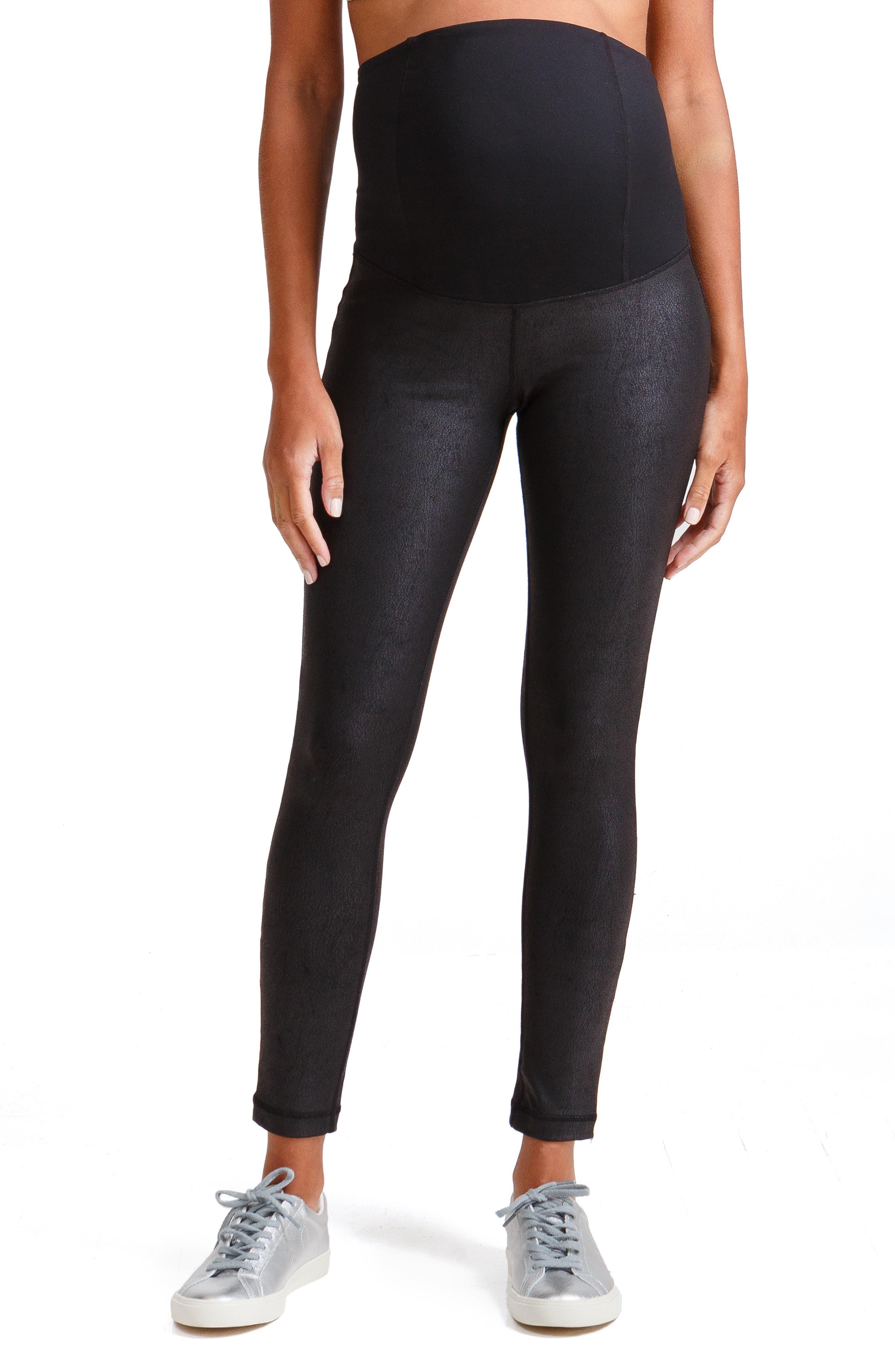 Faux Leather Maternity Leggings,                         Main,                         color, JET BLACK