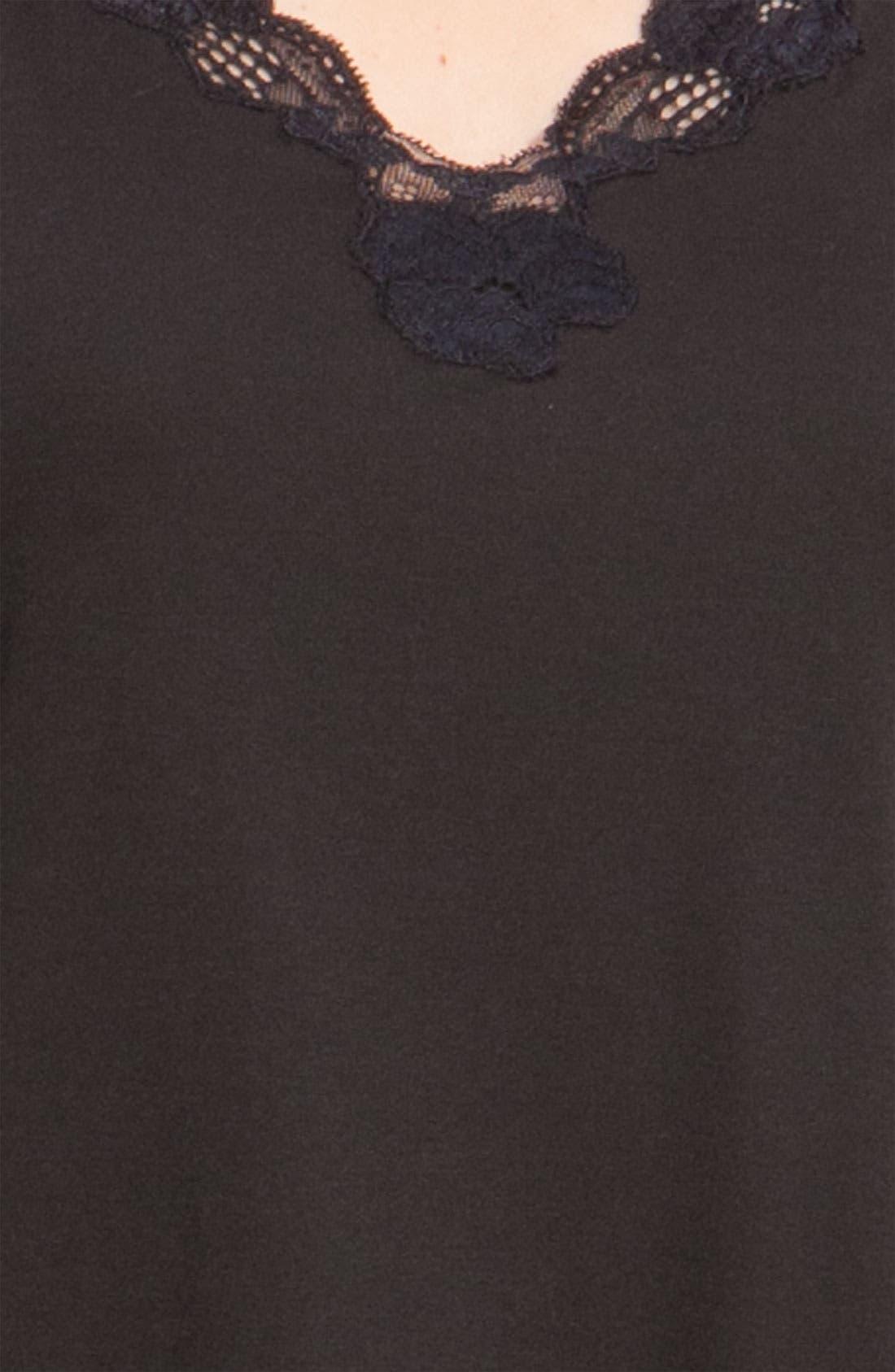 'Zen Floral' Pajamas,                             Alternate thumbnail 3, color,                             BLACK