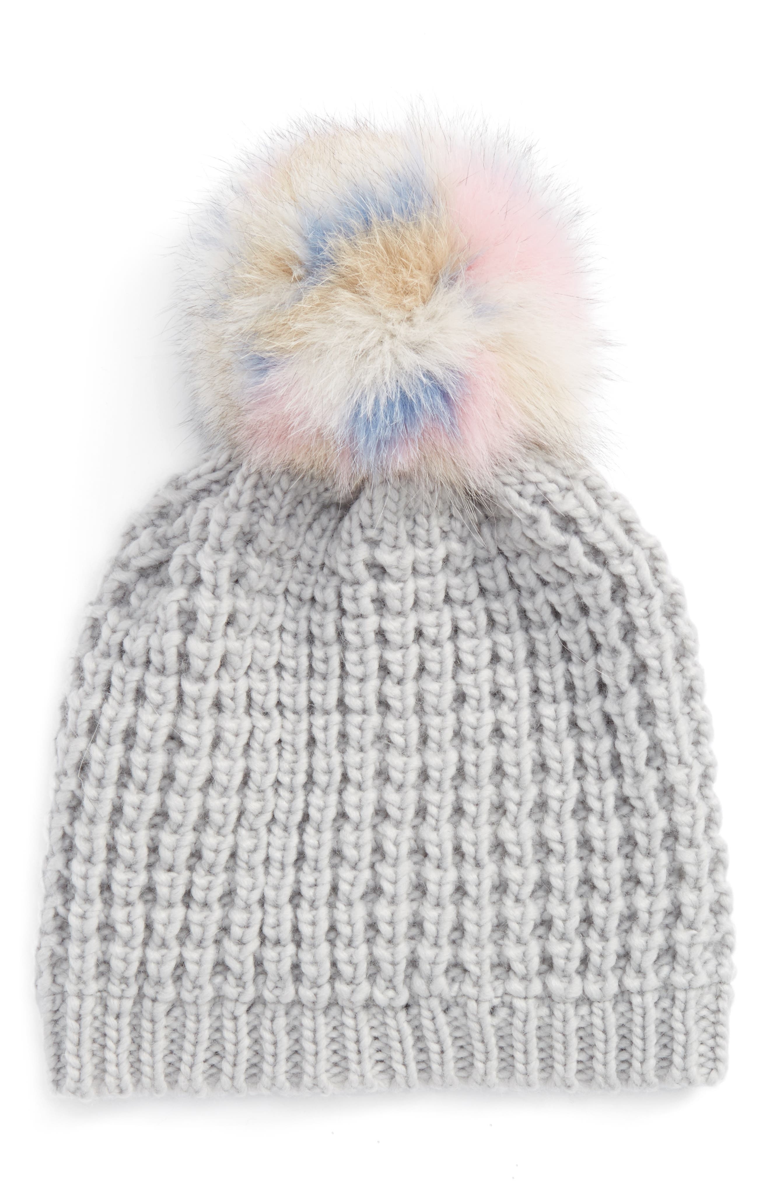 Genuine Fox Pompom Hat,                             Main thumbnail 2, color,