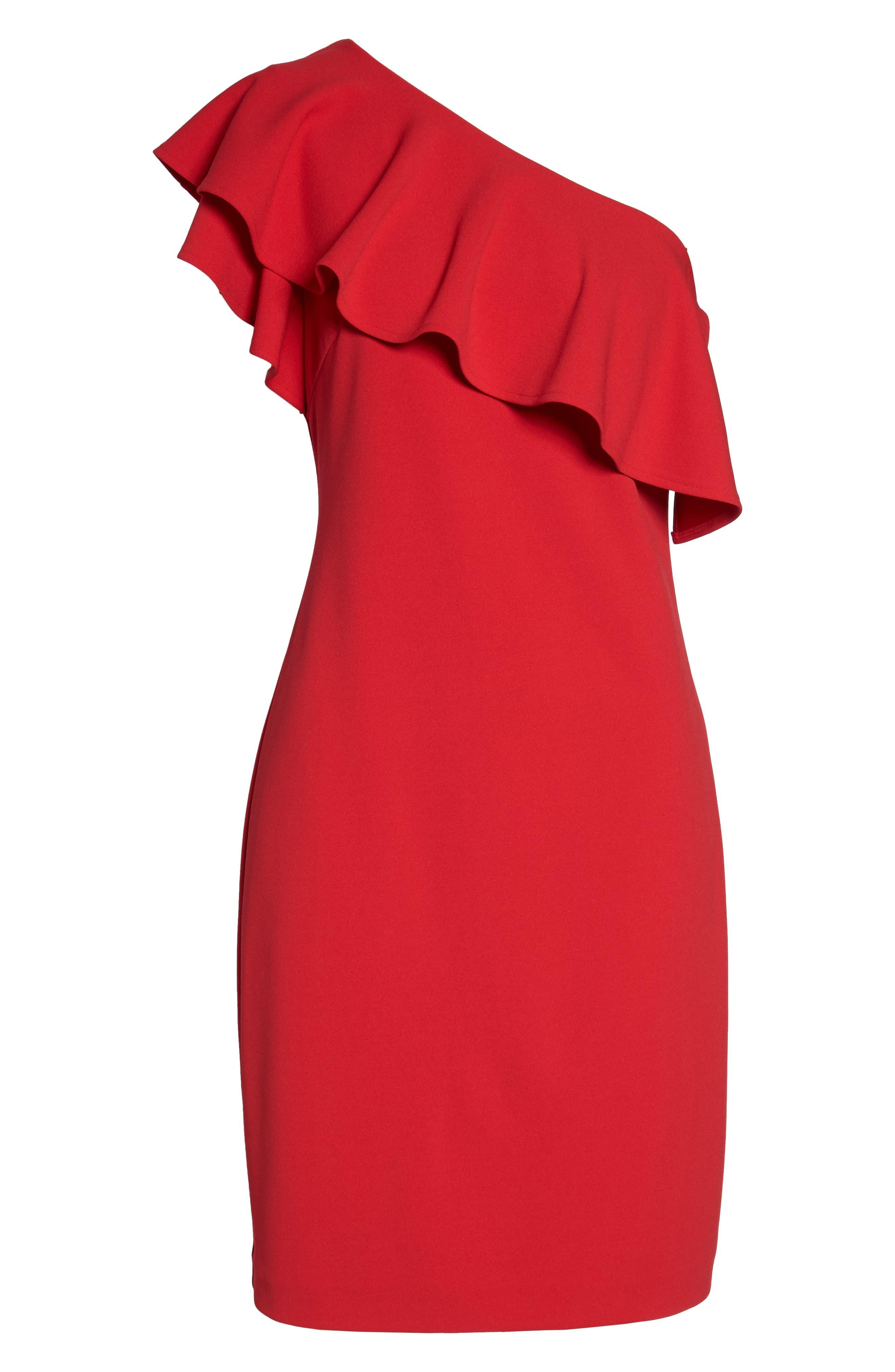 One-Shoulder Ruffle Dress,                             Alternate thumbnail 12, color,