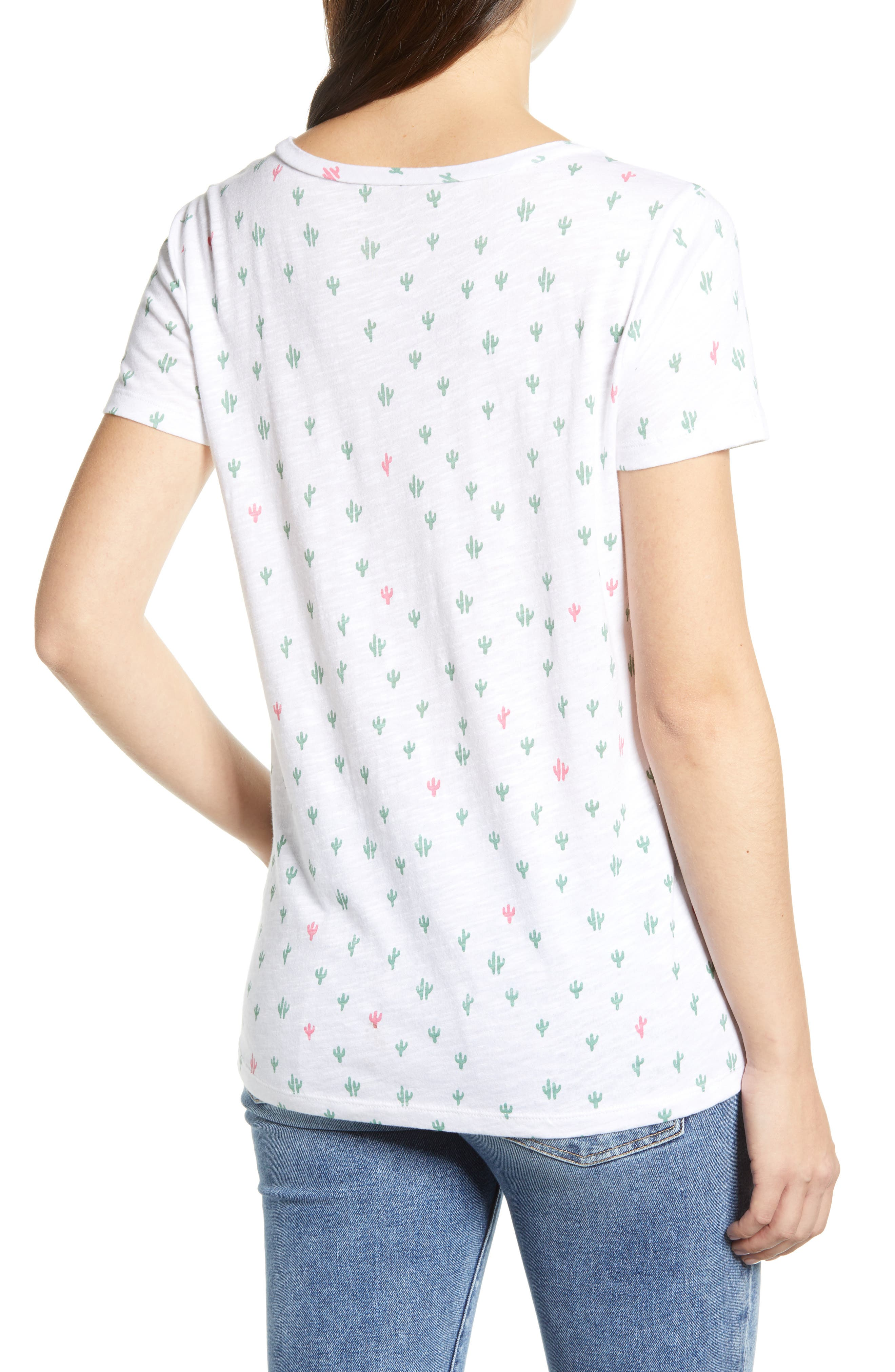 CASLON<SUP>®</SUP>,                             Rounded V-Neck Tee,                             Alternate thumbnail 2, color,                             WHITE CACTUS PRINT