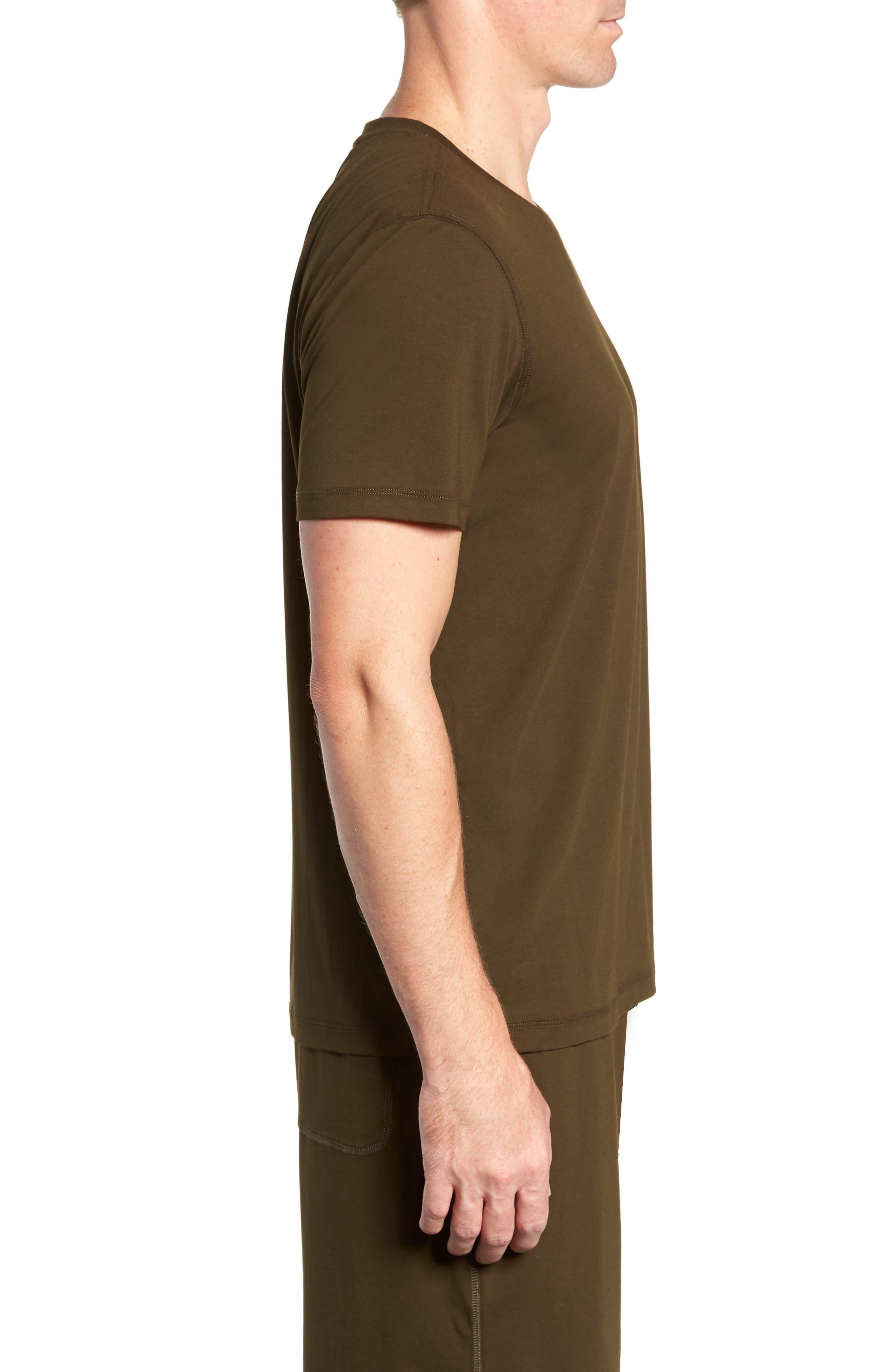 Stretch Cotton & Modal Crewneck T-Shirt,                             Alternate thumbnail 3, color,                             ARMY