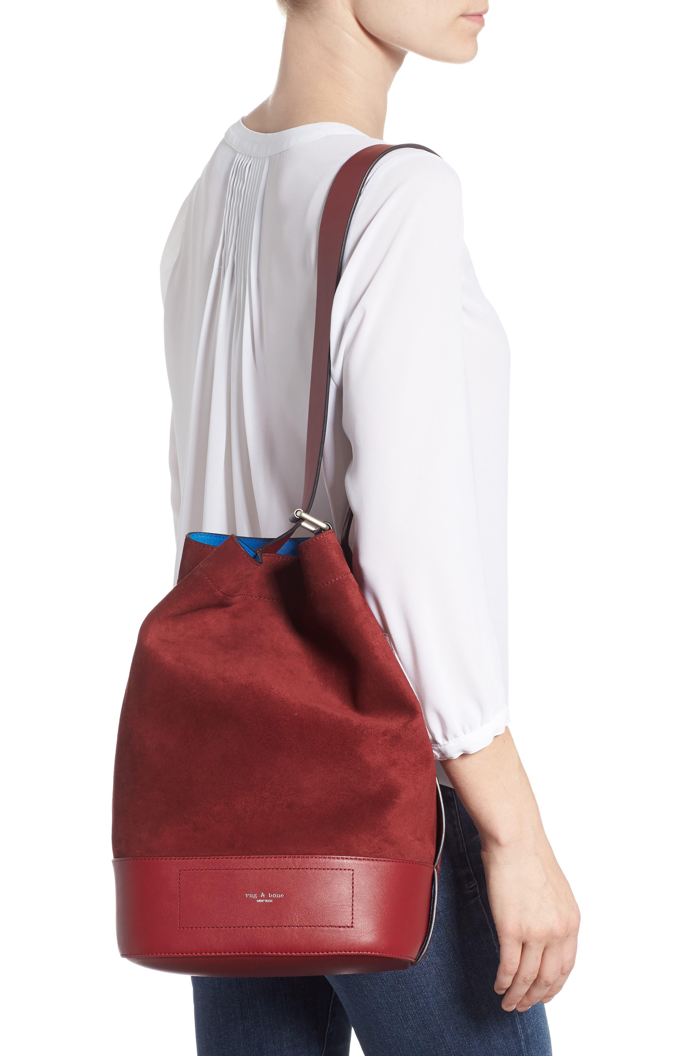 Walker Sling Suede Bucket Bag,                             Alternate thumbnail 3, color,                             BIKING RED MULTI