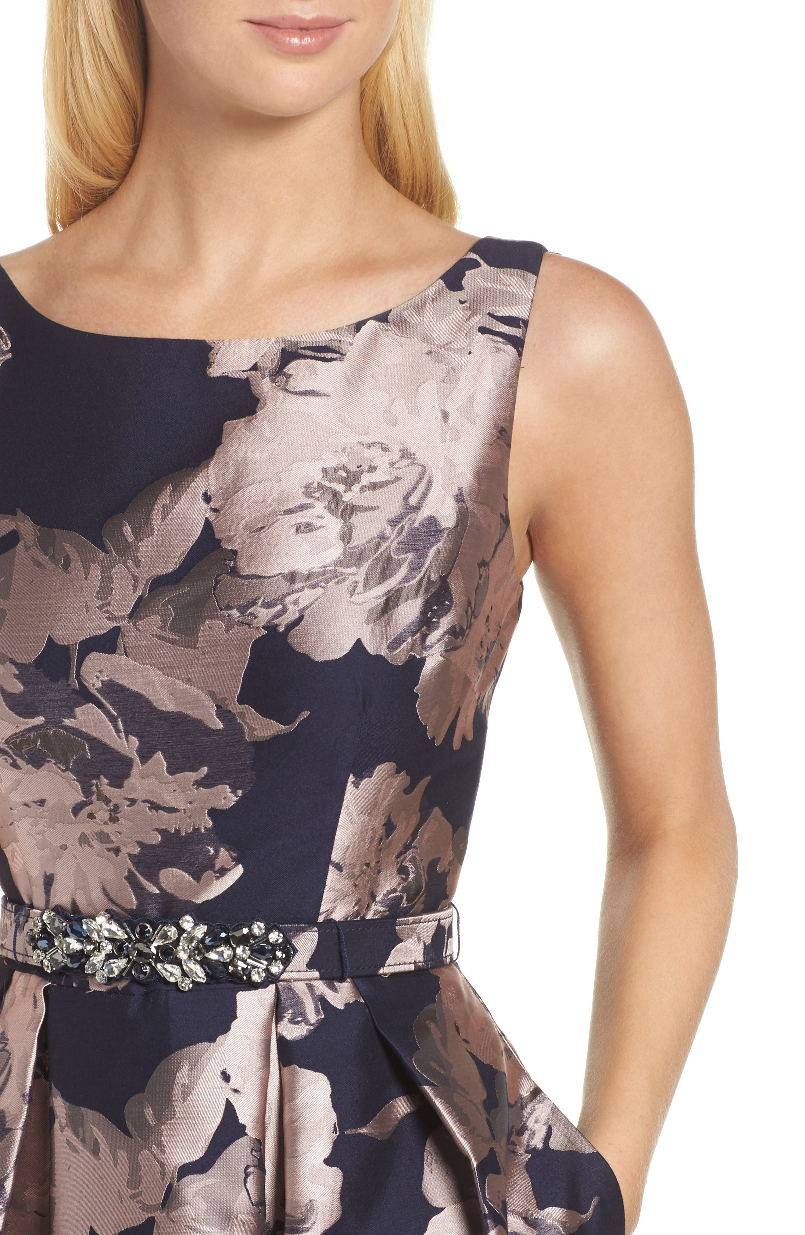 Belted Brocade A-Line Dress,                             Alternate thumbnail 4, color,                             410