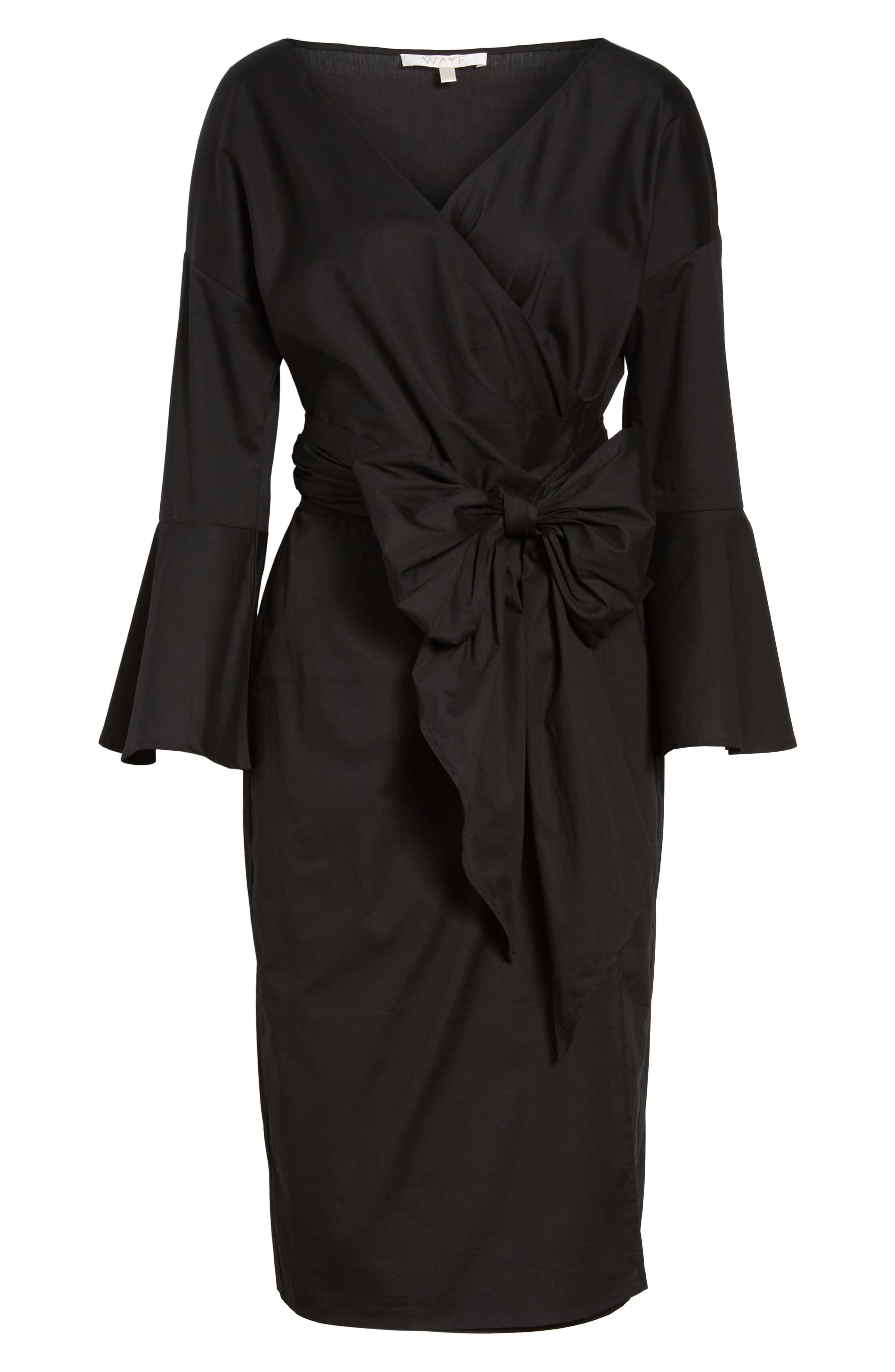 Wrap Bell Sleeve Dress,                             Alternate thumbnail 6, color,                             001