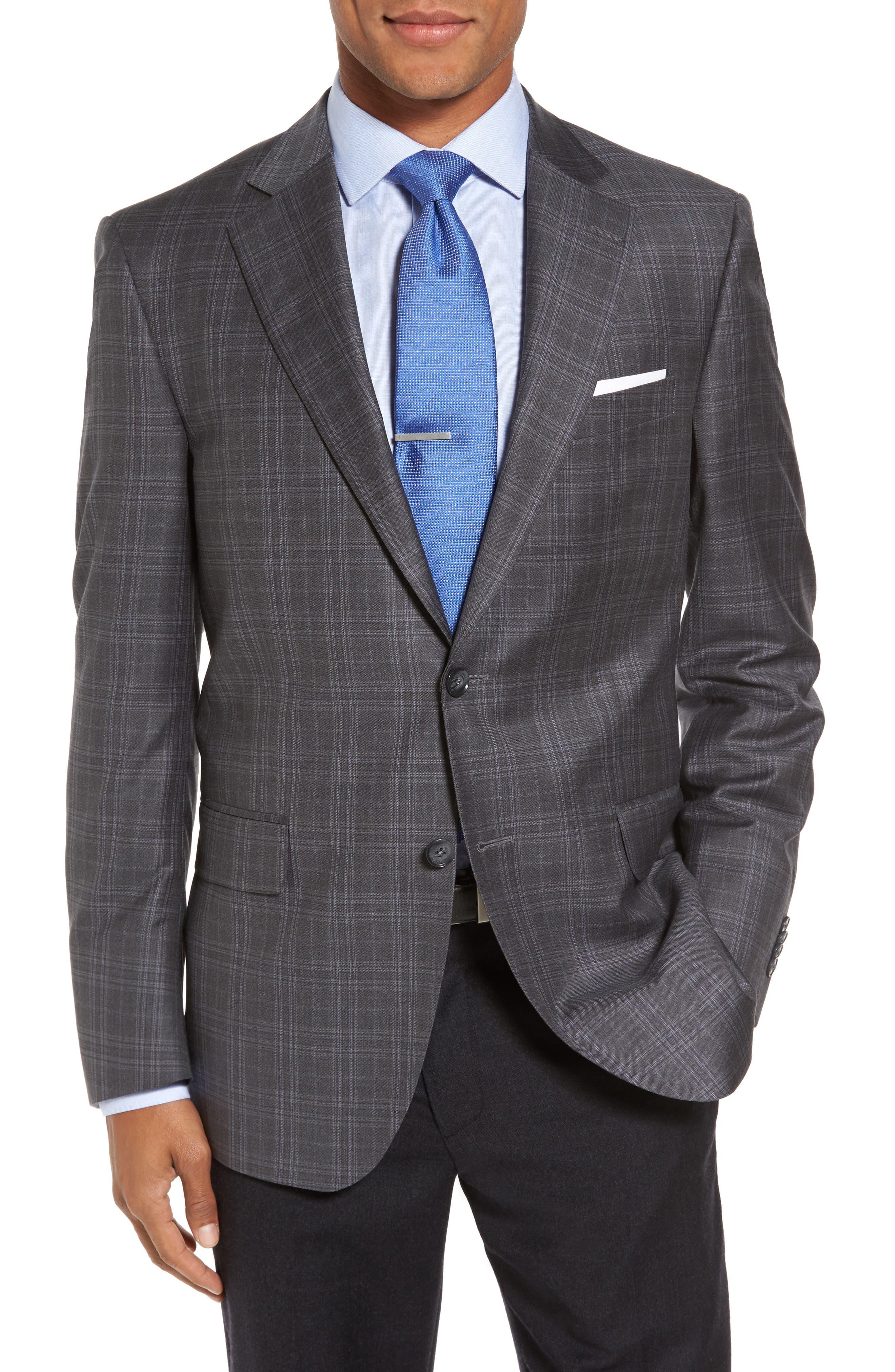 Flynn Classic Fit Plaid Wool Sport Coat,                         Main,                         color, 020