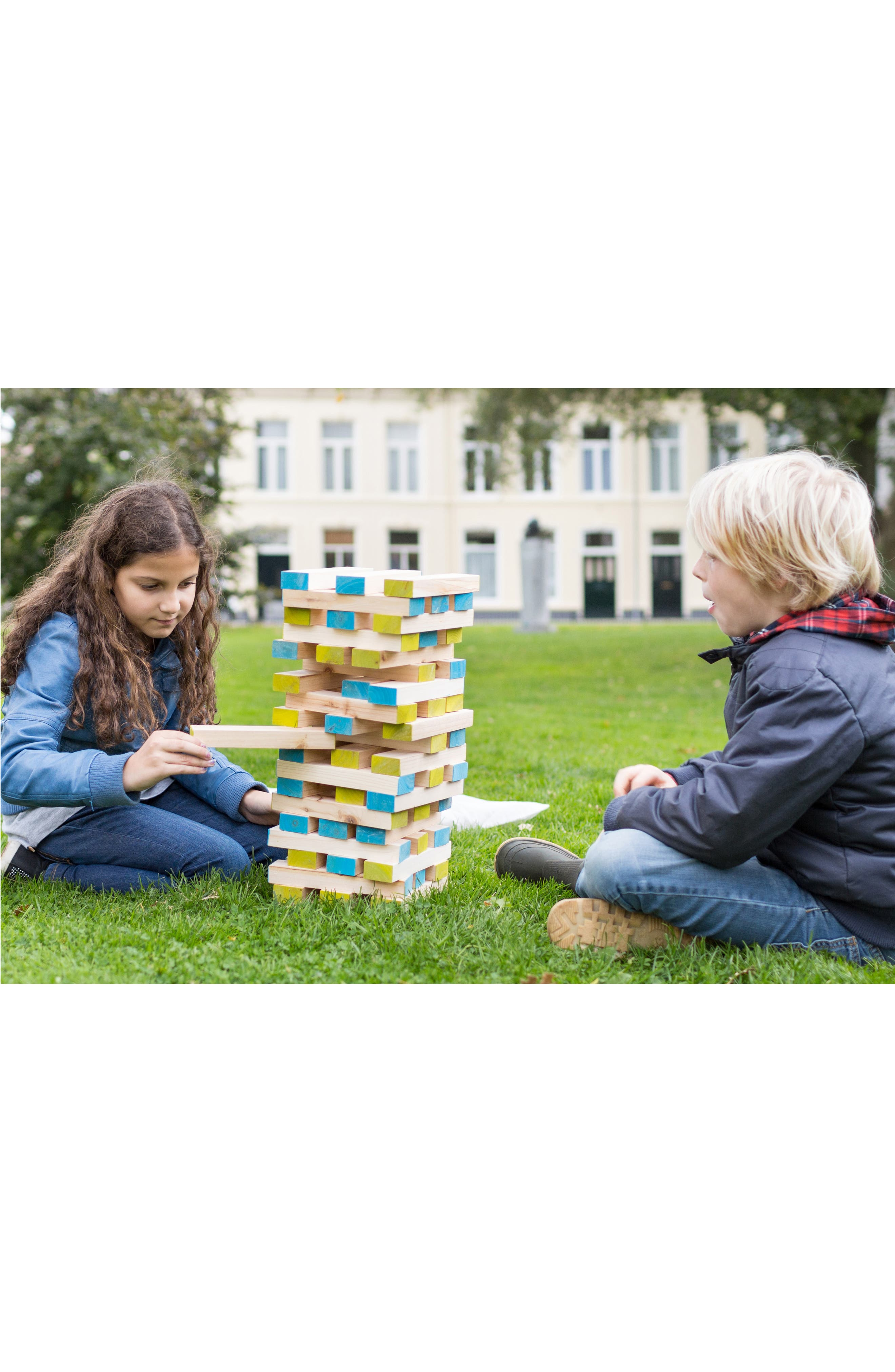Large Wood Block Tower Toy,                             Alternate thumbnail 5, color,                             GREEN